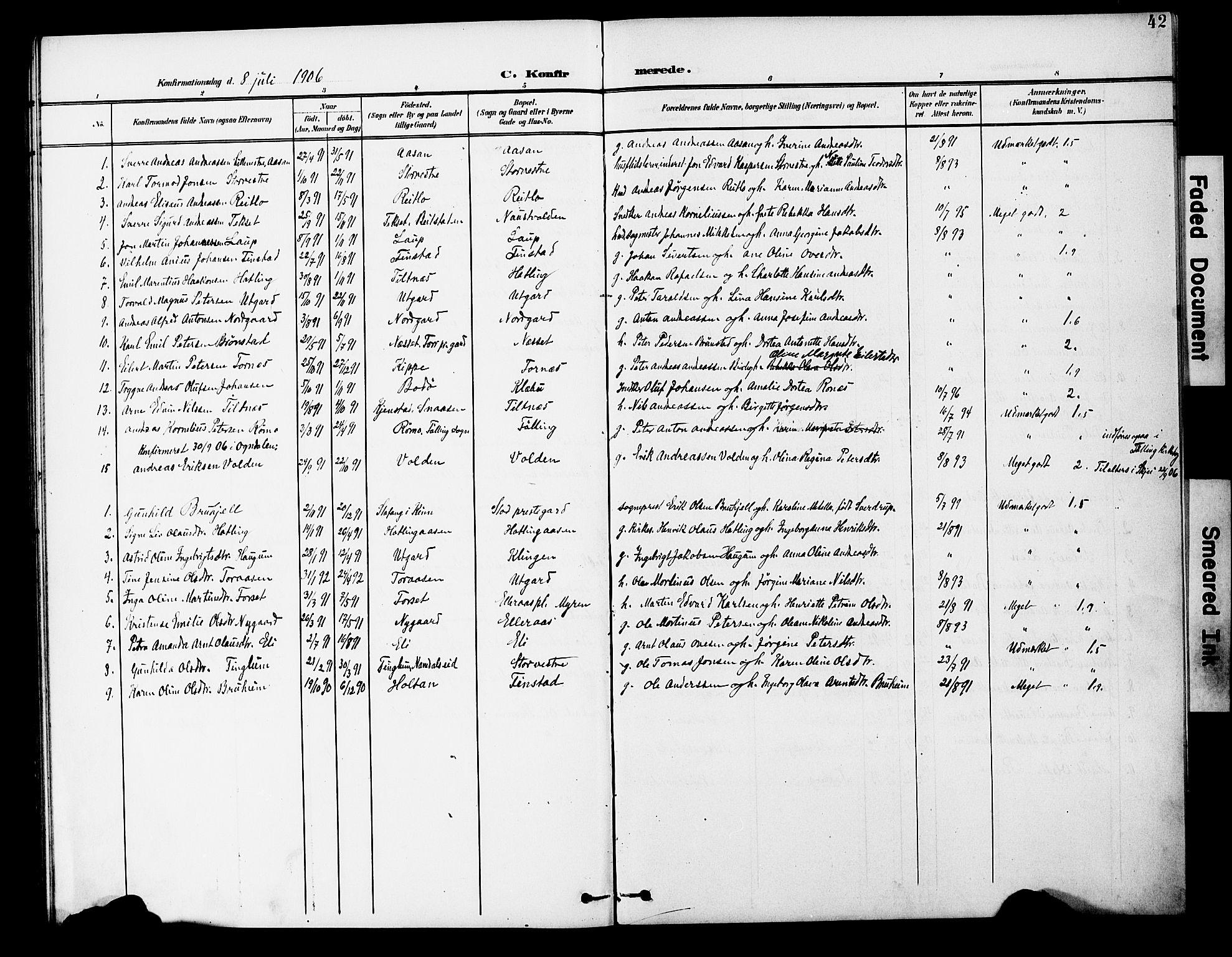 SAT, Ministerialprotokoller, klokkerbøker og fødselsregistre - Nord-Trøndelag, 746/L0452: Ministerialbok nr. 746A09, 1900-1908, s. 42