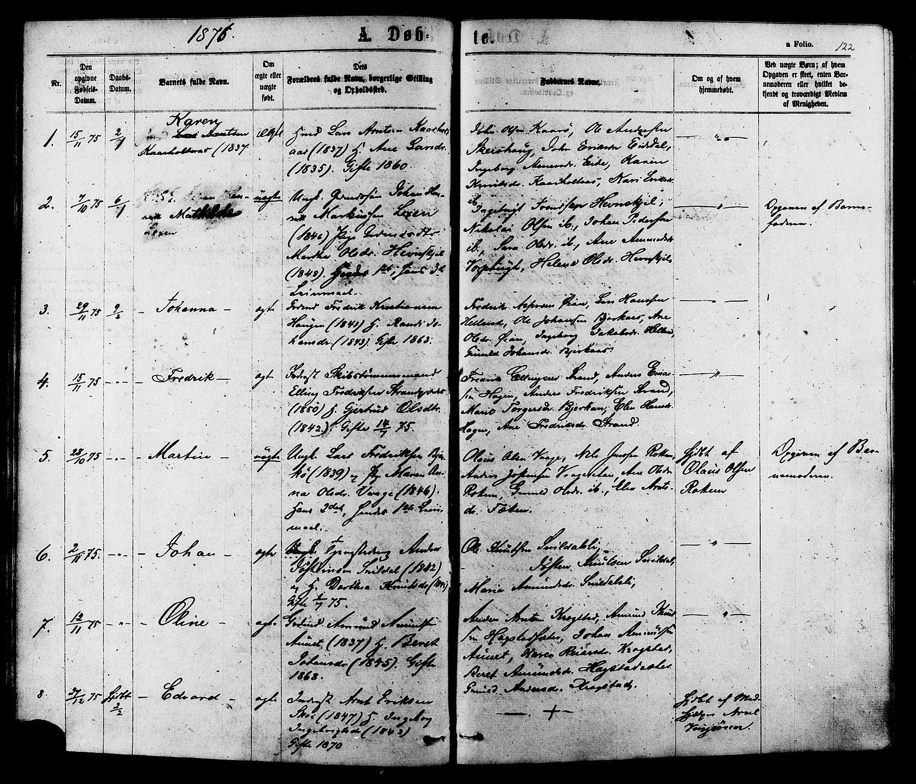 SAT, Ministerialprotokoller, klokkerbøker og fødselsregistre - Sør-Trøndelag, 630/L0495: Ministerialbok nr. 630A08, 1868-1878, s. 122