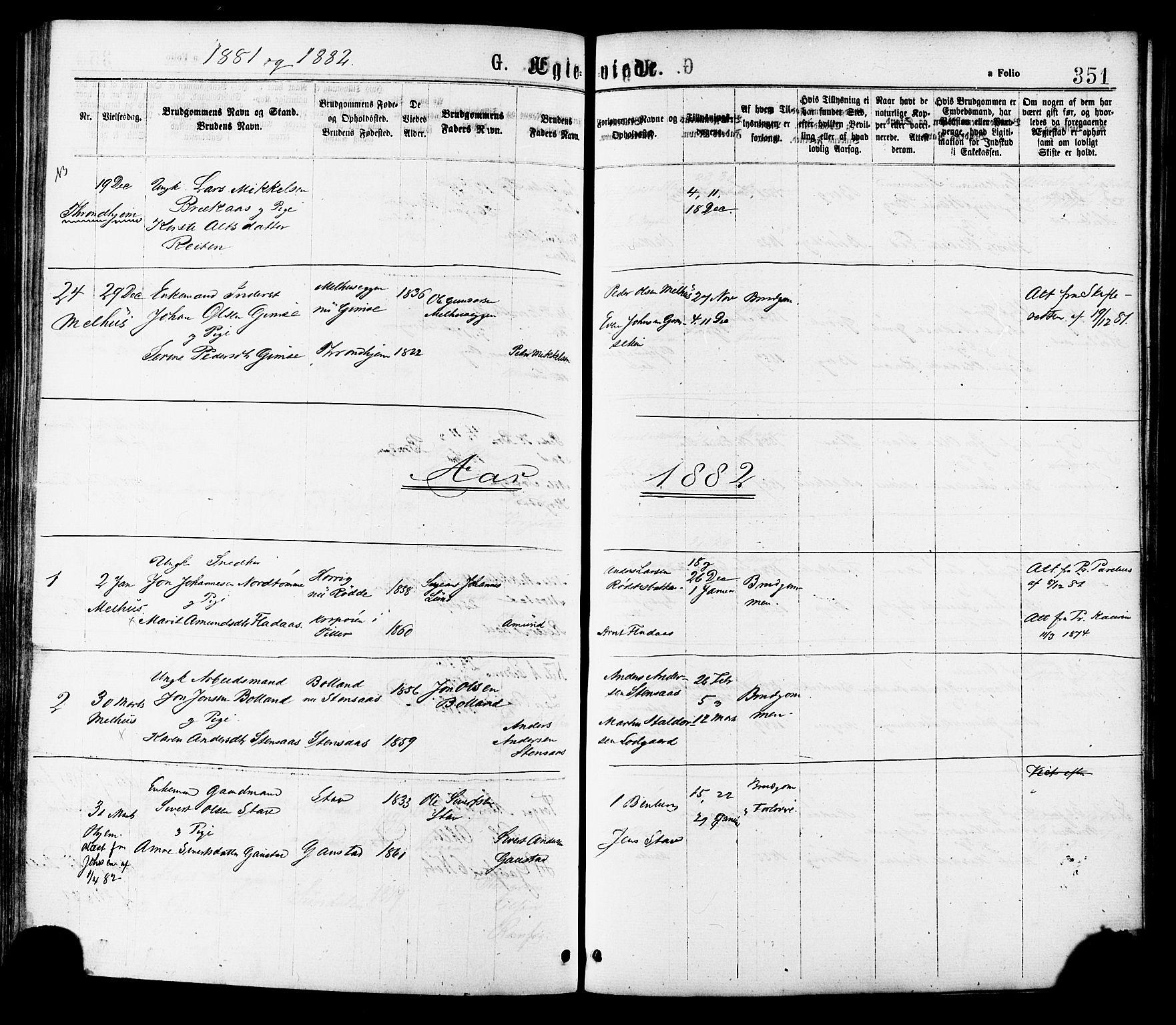 SAT, Ministerialprotokoller, klokkerbøker og fødselsregistre - Sør-Trøndelag, 691/L1079: Ministerialbok nr. 691A11, 1873-1886, s. 351