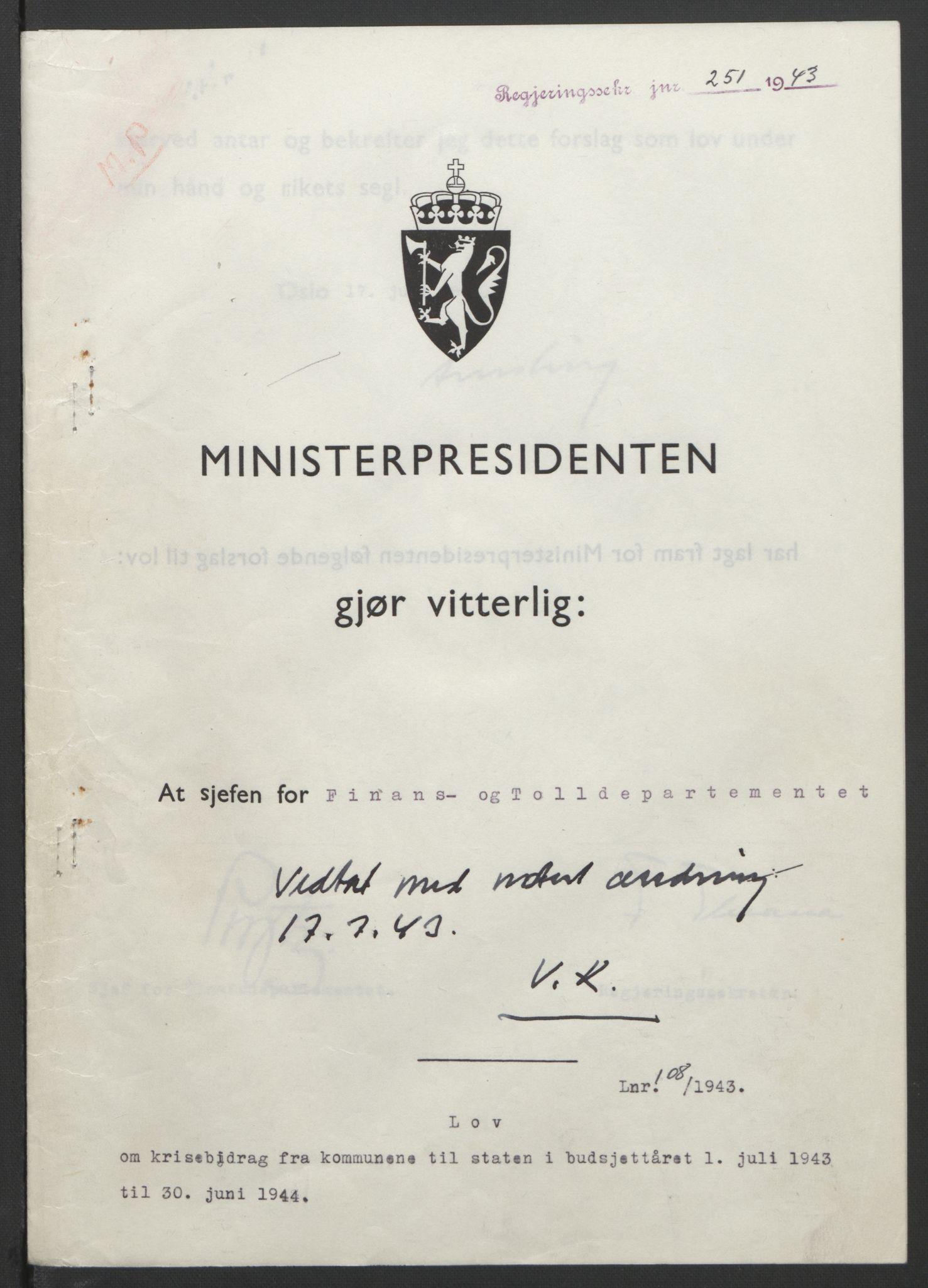 RA, NS-administrasjonen 1940-1945 (Statsrådsekretariatet, de kommisariske statsråder mm), D/Db/L0099: Lover, 1943, s. 503