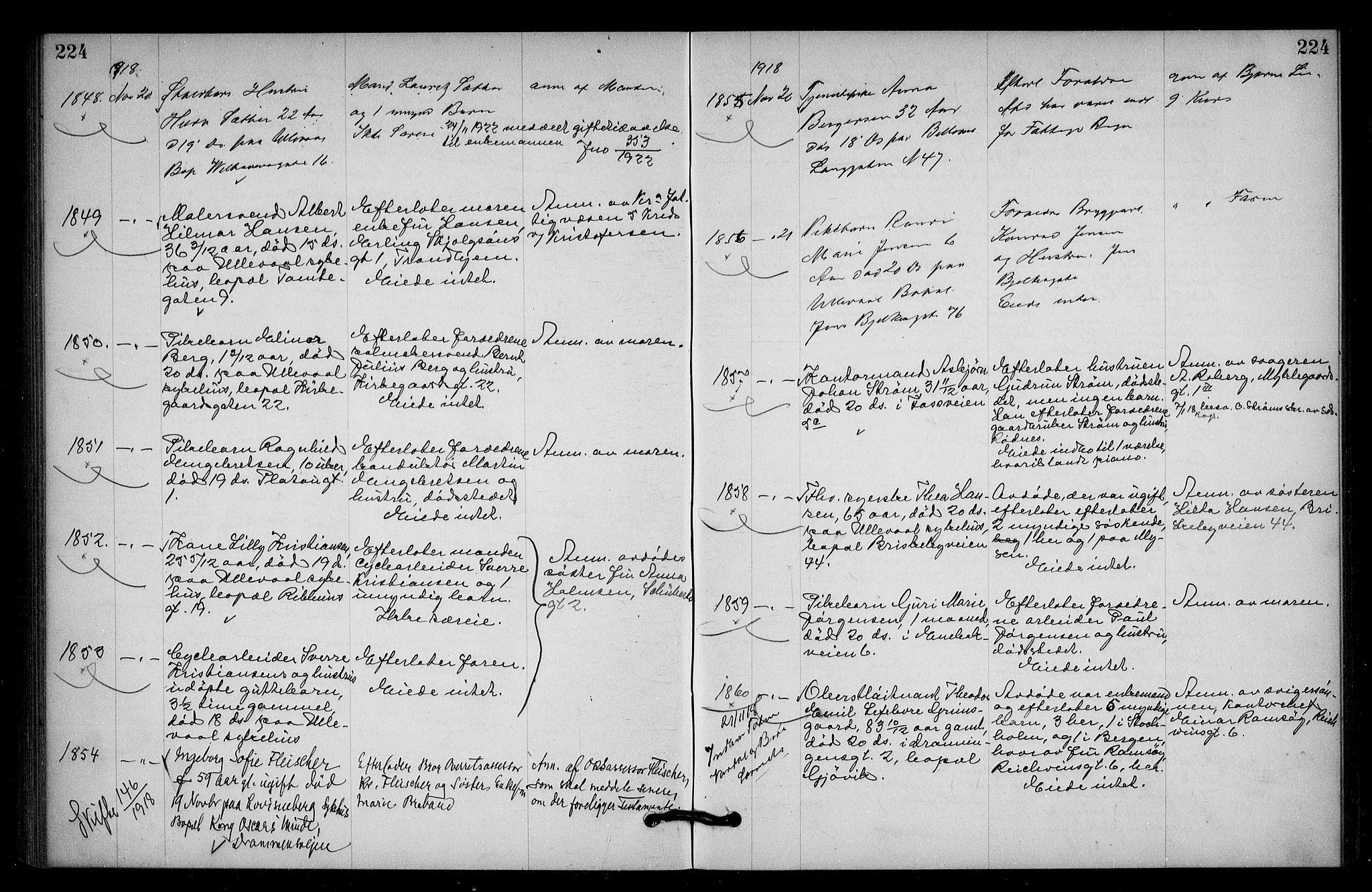 SAO, Oslo skifterett, G/Ga/Gac/L0009: Dødsfallsprotokoll, 1917-1919, s. 224