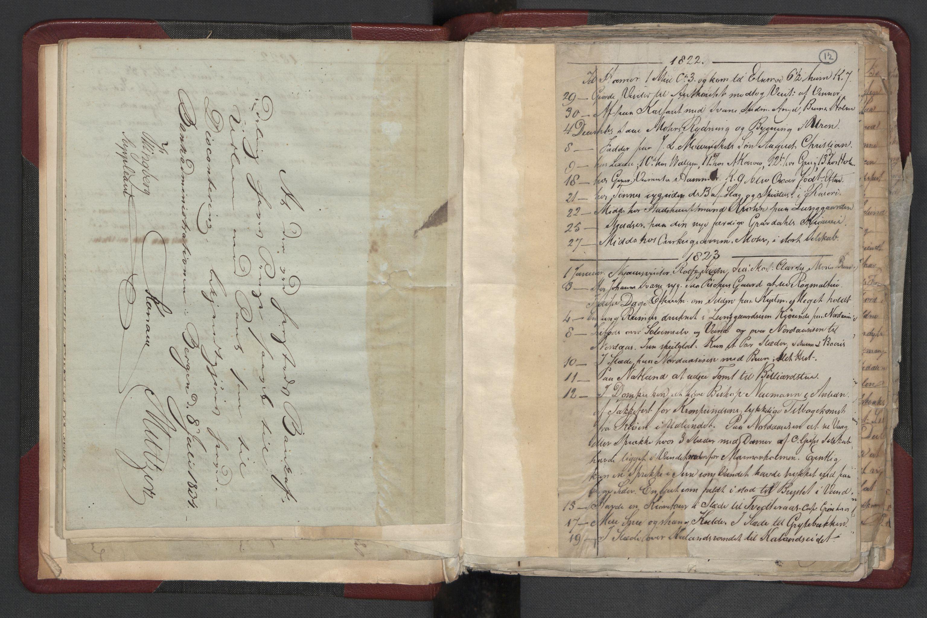RA, Meltzer, Fredrik, F/L0004: Dagbok, 1822-1830, s. 11b-12a