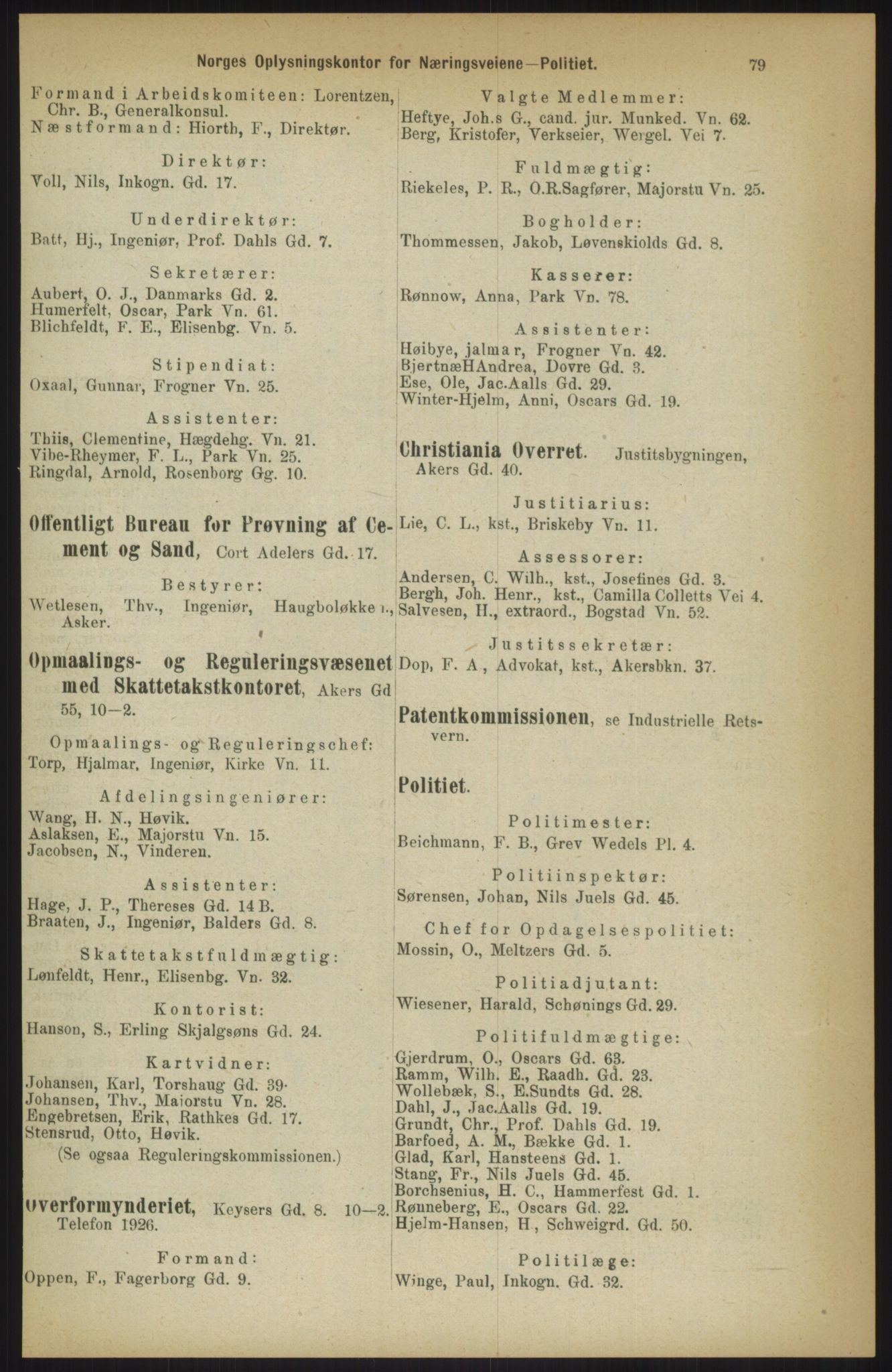 RA, Kristiania adressebok (publikasjon)*, 1911, s. 79