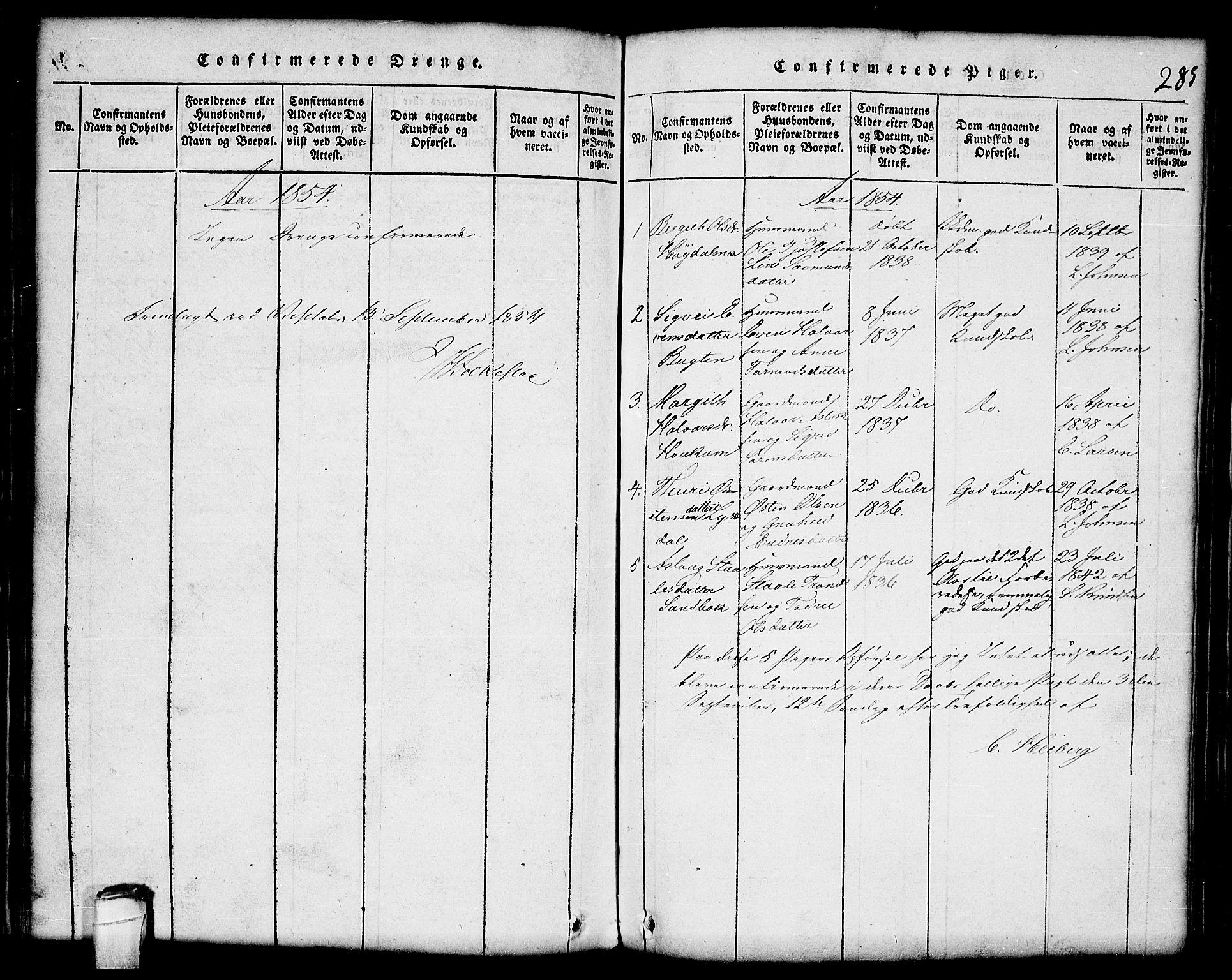 SAKO, Lårdal kirkebøker, G/Gc/L0001: Klokkerbok nr. III 1, 1815-1854, s. 285