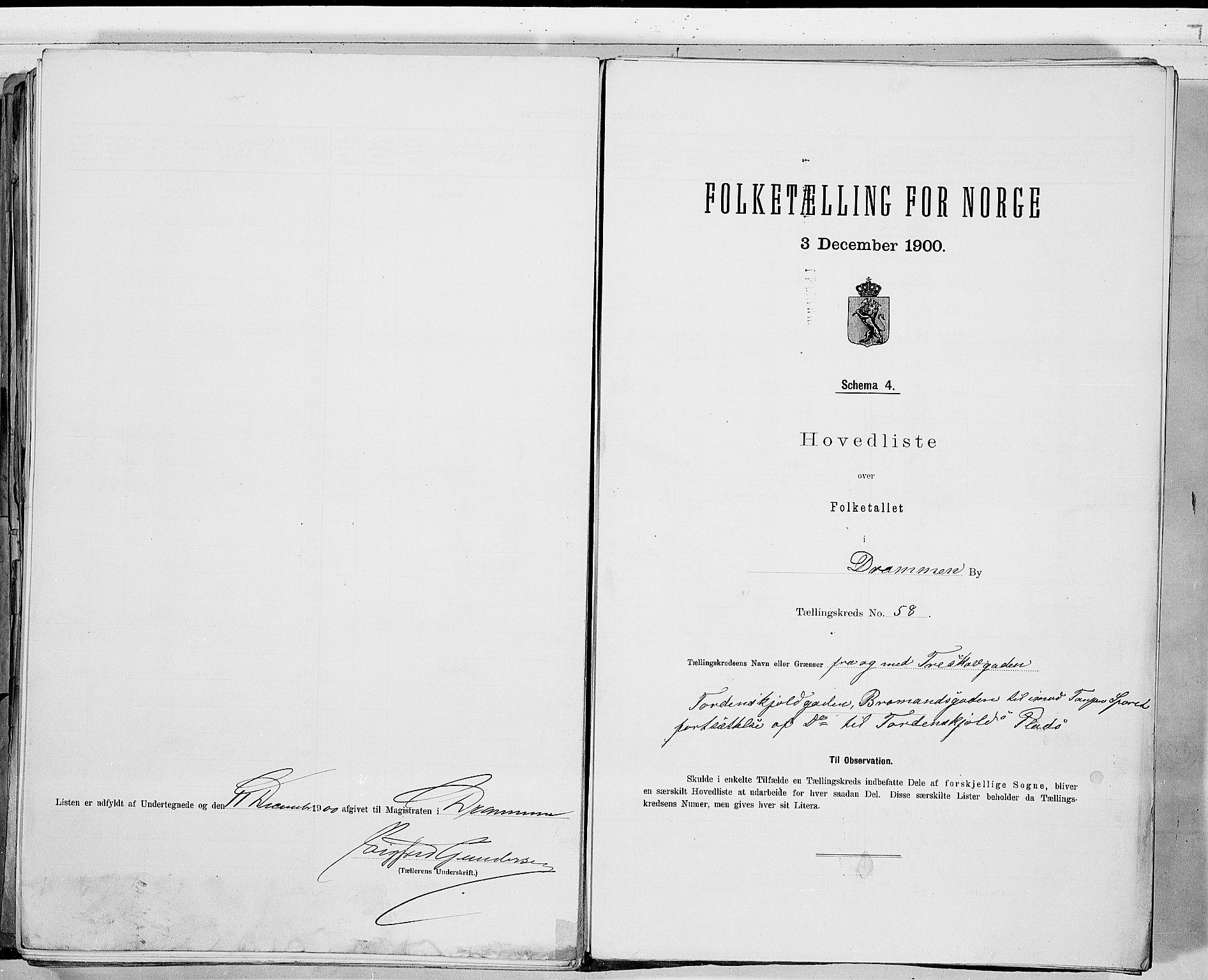 RA, Folketelling 1900 for 0602 Drammen kjøpstad, 1900, s. 121
