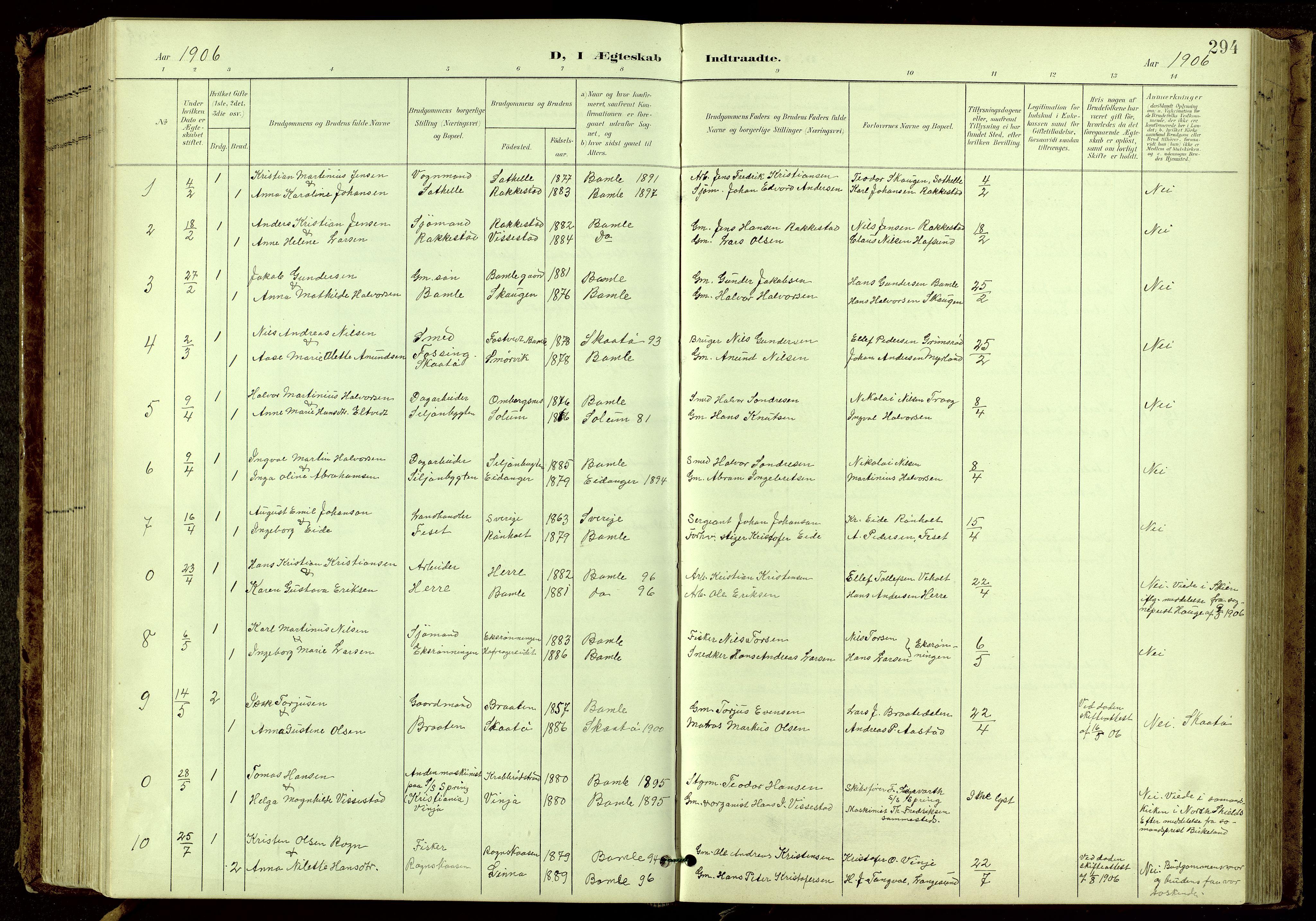 SAKO, Bamble kirkebøker, G/Ga/L0010: Klokkerbok nr. I 10, 1901-1919, s. 294