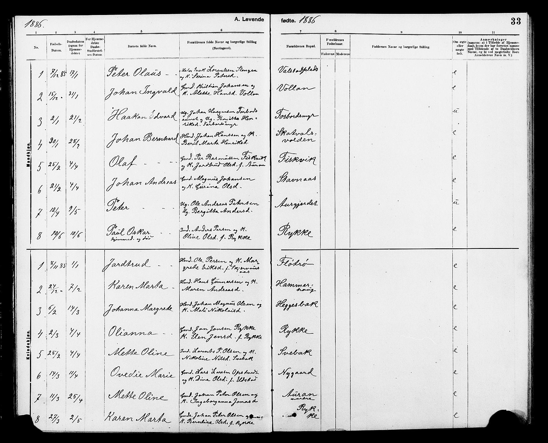 SAT, Ministerialprotokoller, klokkerbøker og fødselsregistre - Nord-Trøndelag, 712/L0103: Klokkerbok nr. 712C01, 1878-1917, s. 33