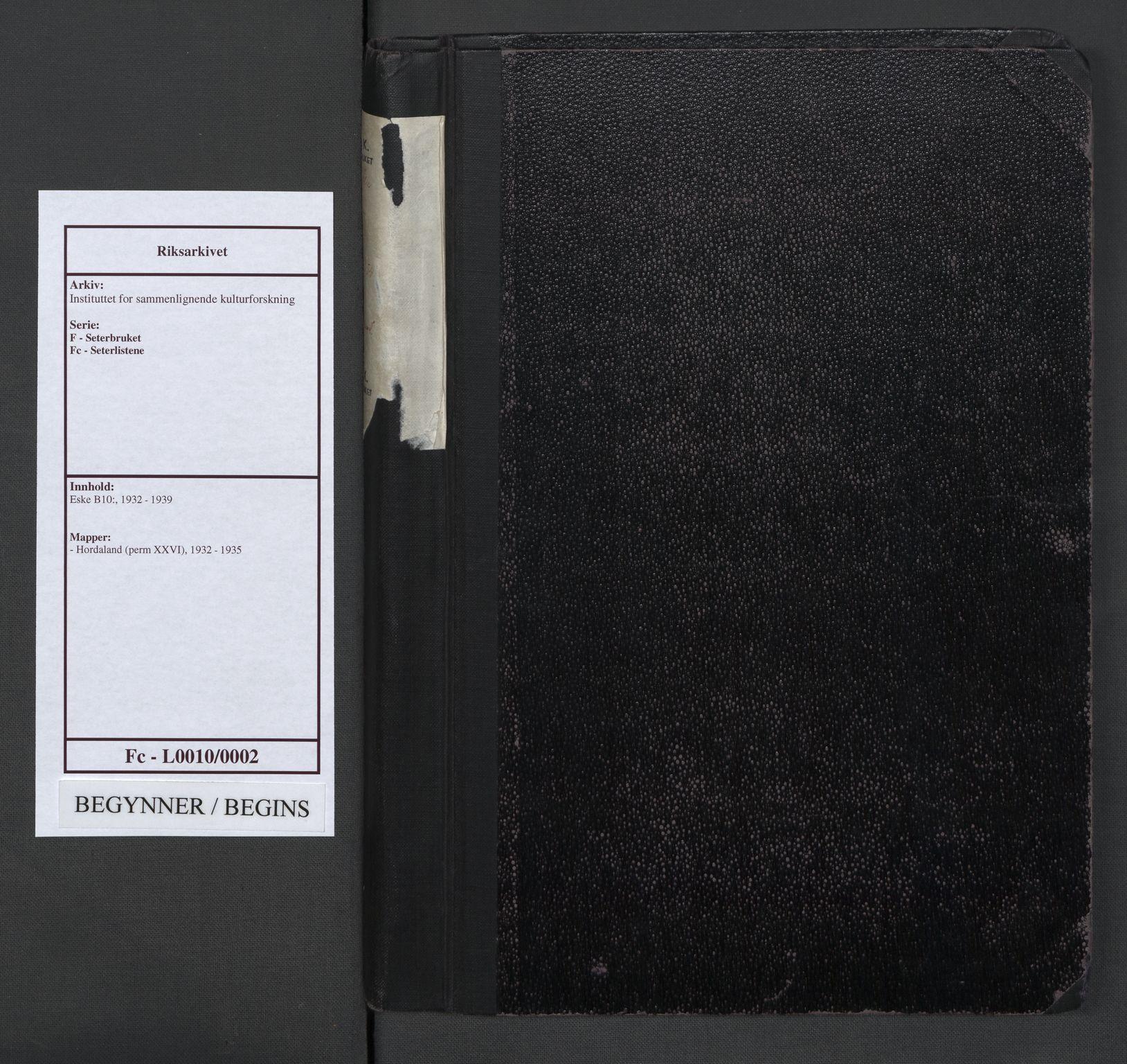 RA, Instituttet for sammenlignende kulturforskning, F/Fc/L0010: Eske B10:, 1932-1935, s. upaginert