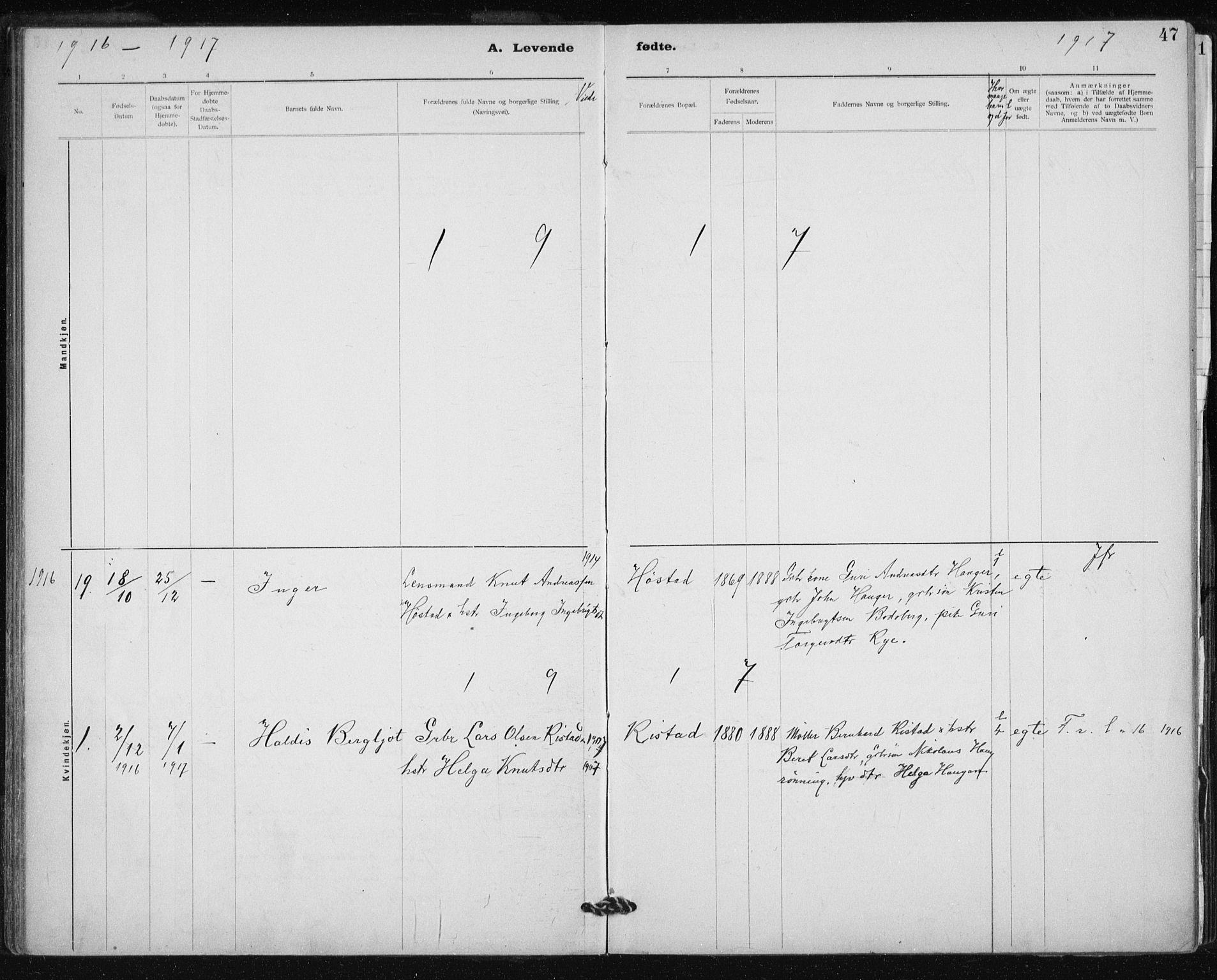 SAT, Ministerialprotokoller, klokkerbøker og fødselsregistre - Sør-Trøndelag, 612/L0381: Ministerialbok nr. 612A13, 1907-1923, s. 47