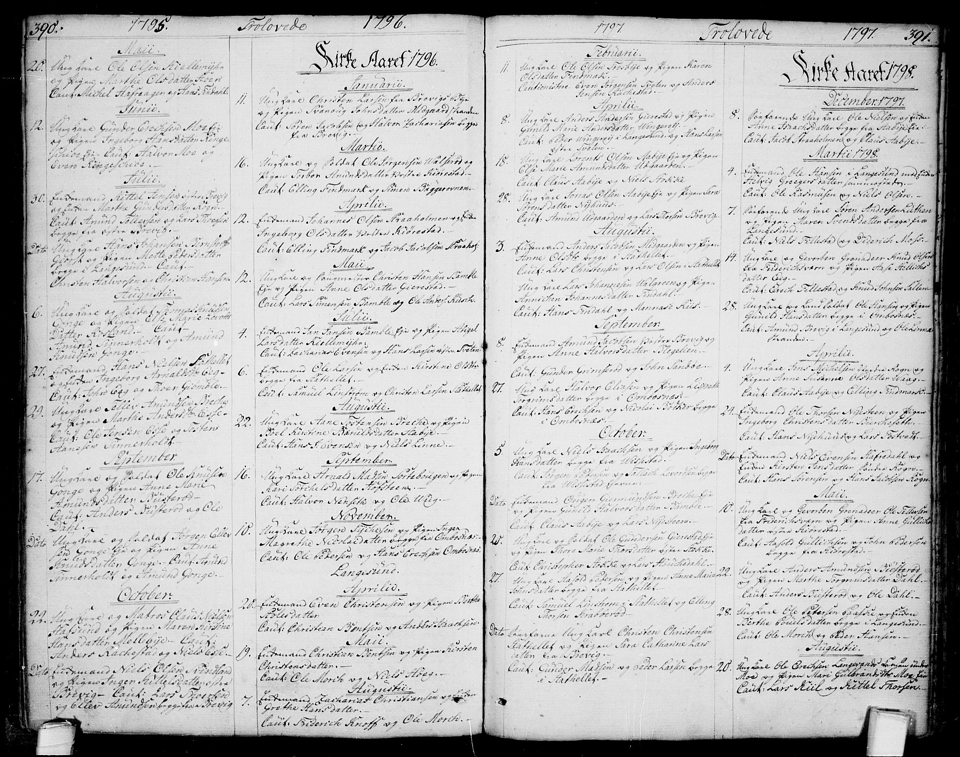 SAKO, Bamble kirkebøker, F/Fa/L0002: Ministerialbok nr. I 2, 1775-1814, s. 390-391