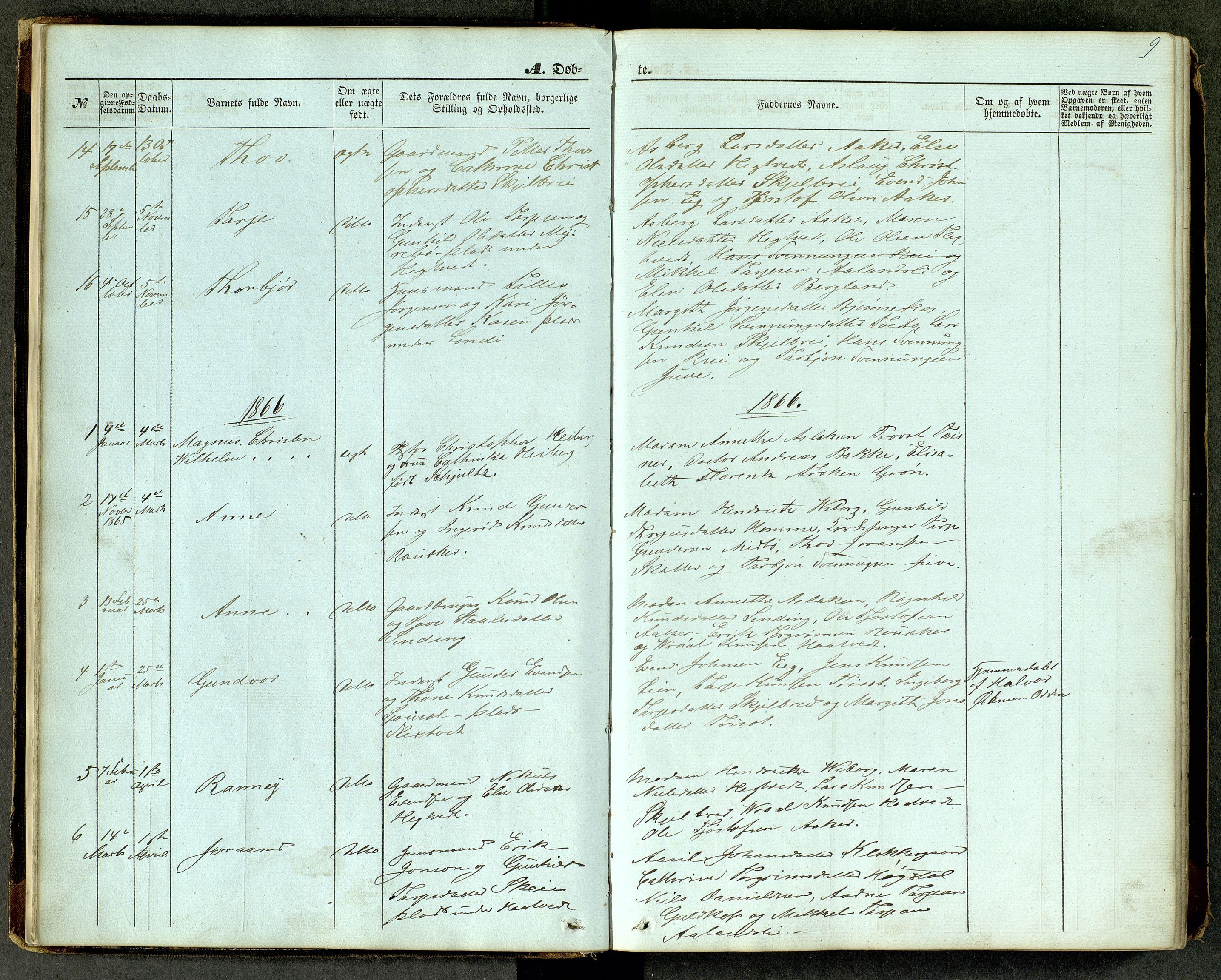 SAKO, Lårdal kirkebøker, G/Ga/L0002: Klokkerbok nr. I 2, 1861-1890, s. 9