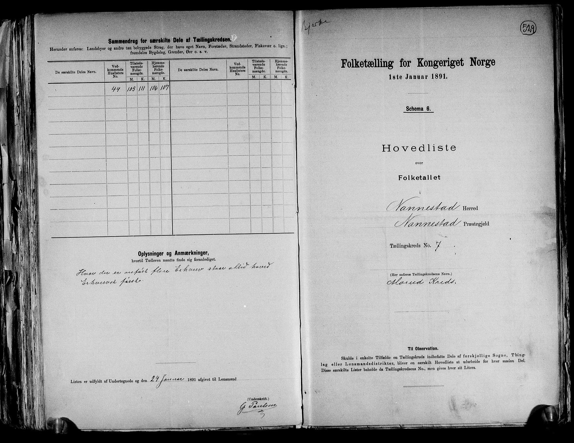 RA, Folketelling 1891 for 0238 Nannestad herred, 1891, s. 23