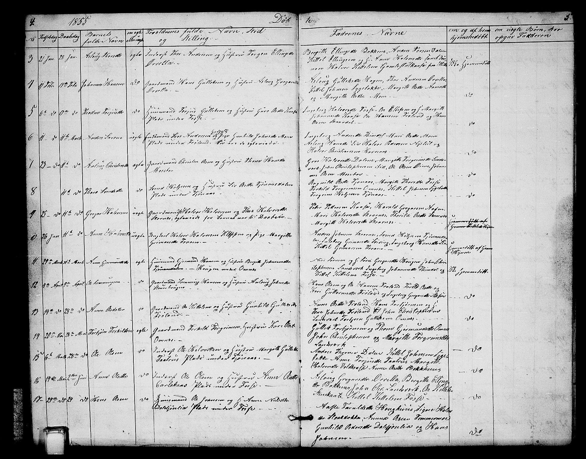 SAKO, Hjartdal kirkebøker, G/Gb/L0002: Klokkerbok nr. II 2, 1854-1884, s. 4-5