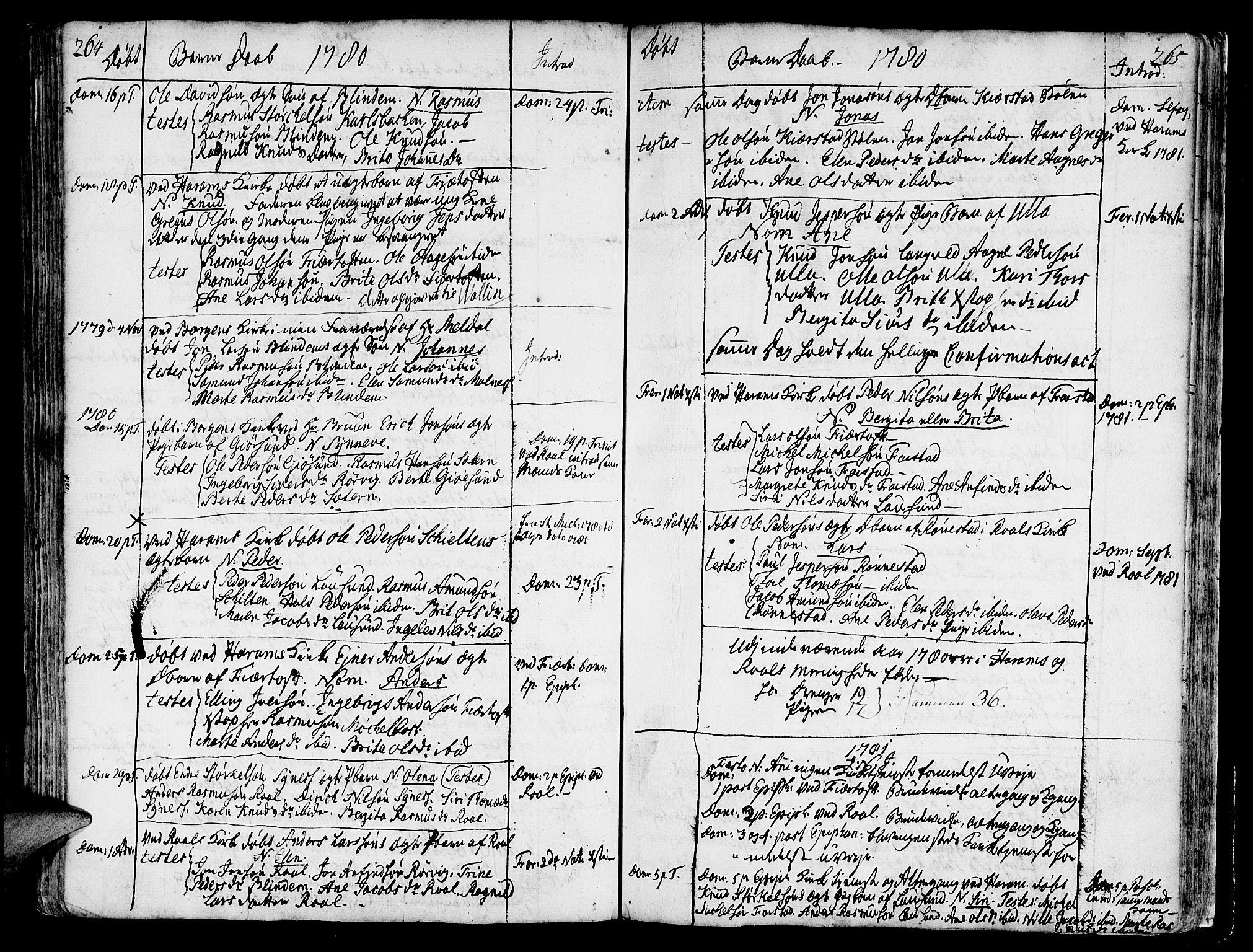 SAT, Ministerialprotokoller, klokkerbøker og fødselsregistre - Møre og Romsdal, 536/L0493: Ministerialbok nr. 536A02, 1739-1802, s. 264-265