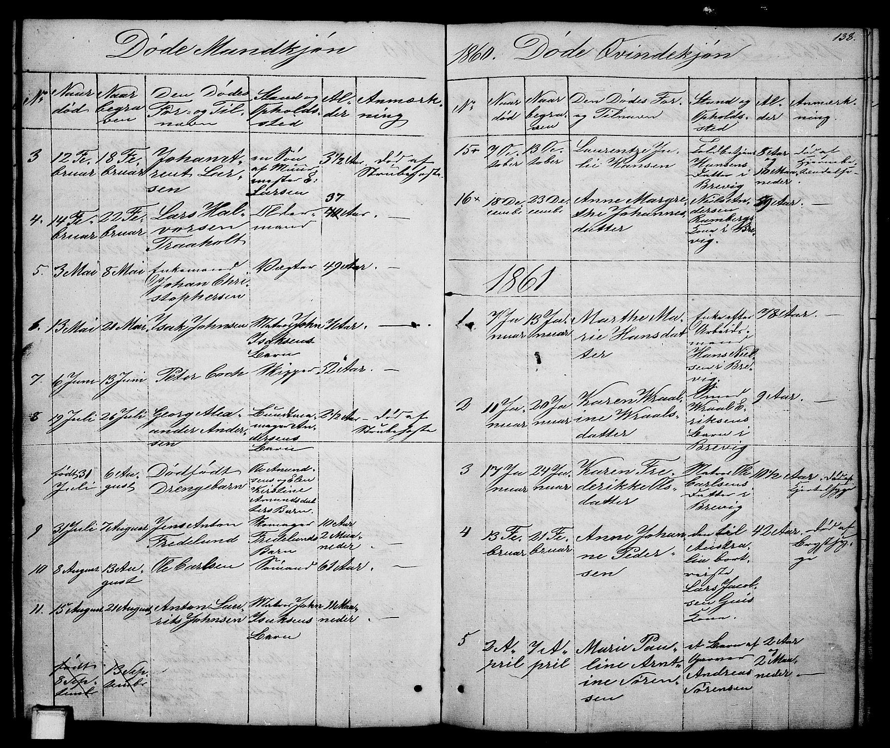 SAKO, Brevik kirkebøker, G/Ga/L0002: Klokkerbok nr. 2, 1846-1865, s. 138
