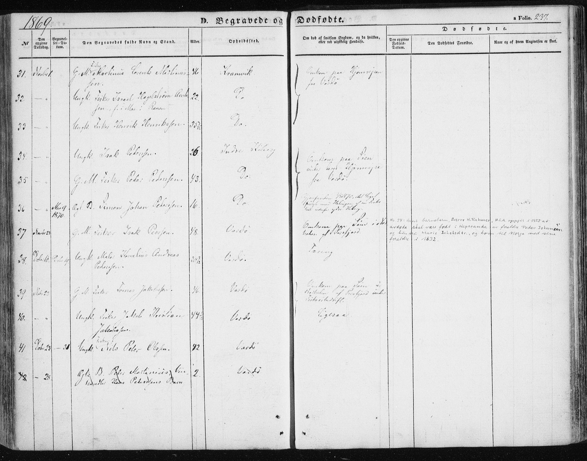 SATØ, Vardø sokneprestkontor, H/Ha/L0004kirke: Ministerialbok nr. 4, 1862-1871, s. 237