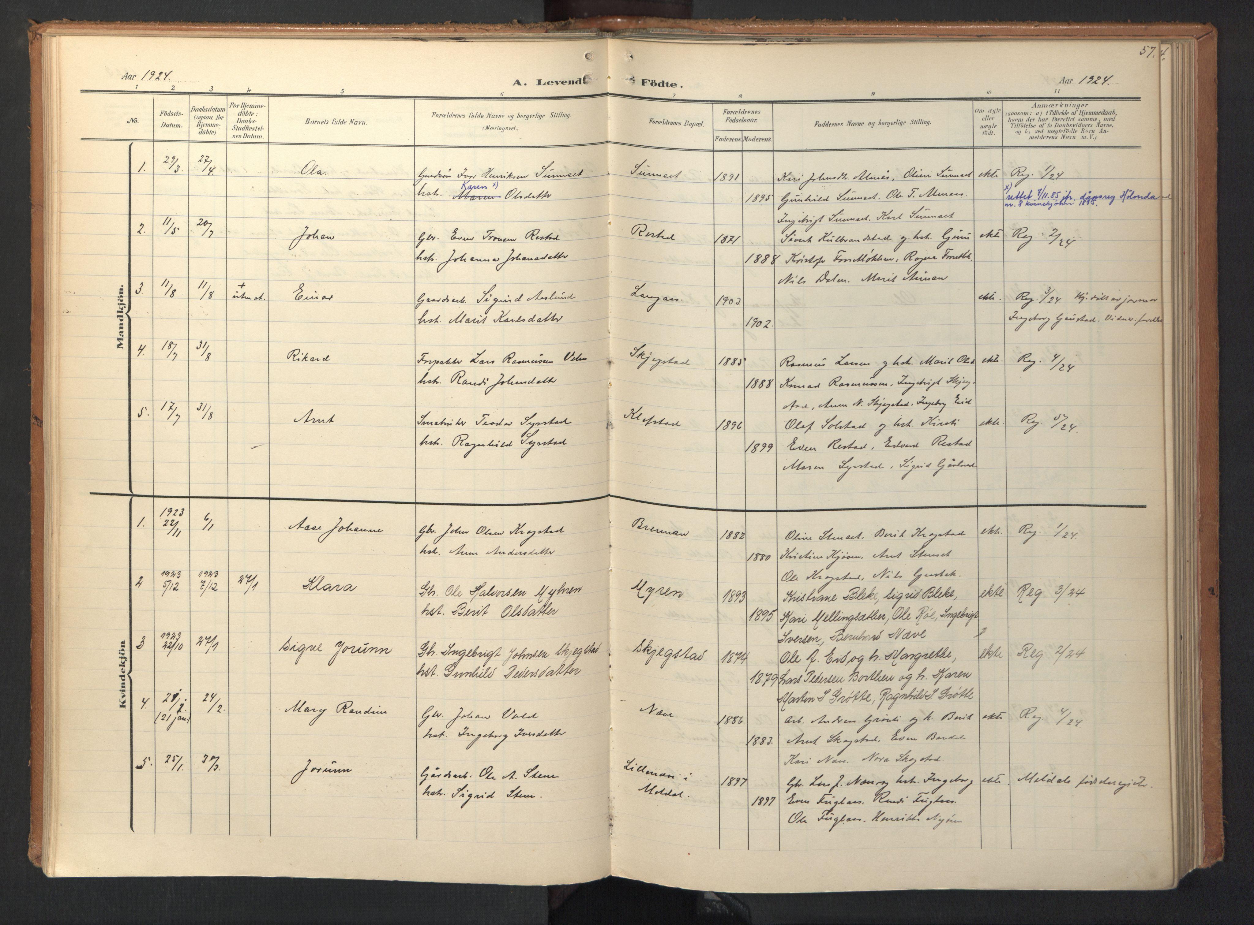 SAT, Ministerialprotokoller, klokkerbøker og fødselsregistre - Sør-Trøndelag, 694/L1128: Ministerialbok nr. 694A02, 1906-1931, s. 57