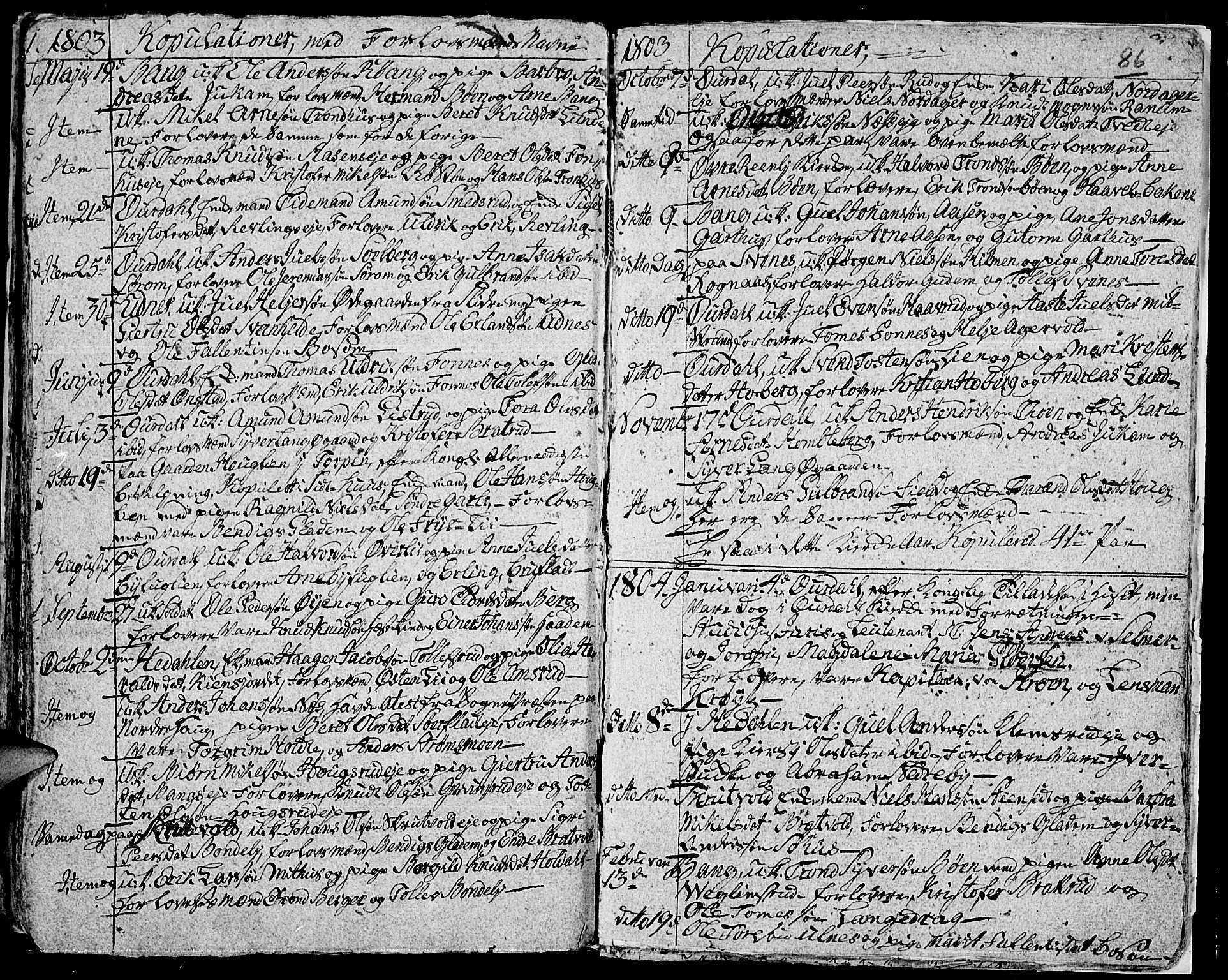 SAH, Aurdal prestekontor, Ministerialbok nr. 7, 1800-1808, s. 86