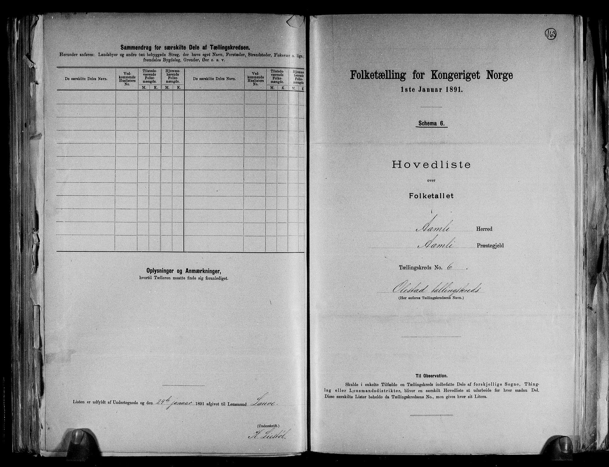 RA, Folketelling 1891 for 0929 Åmli herred, 1891, s. 15