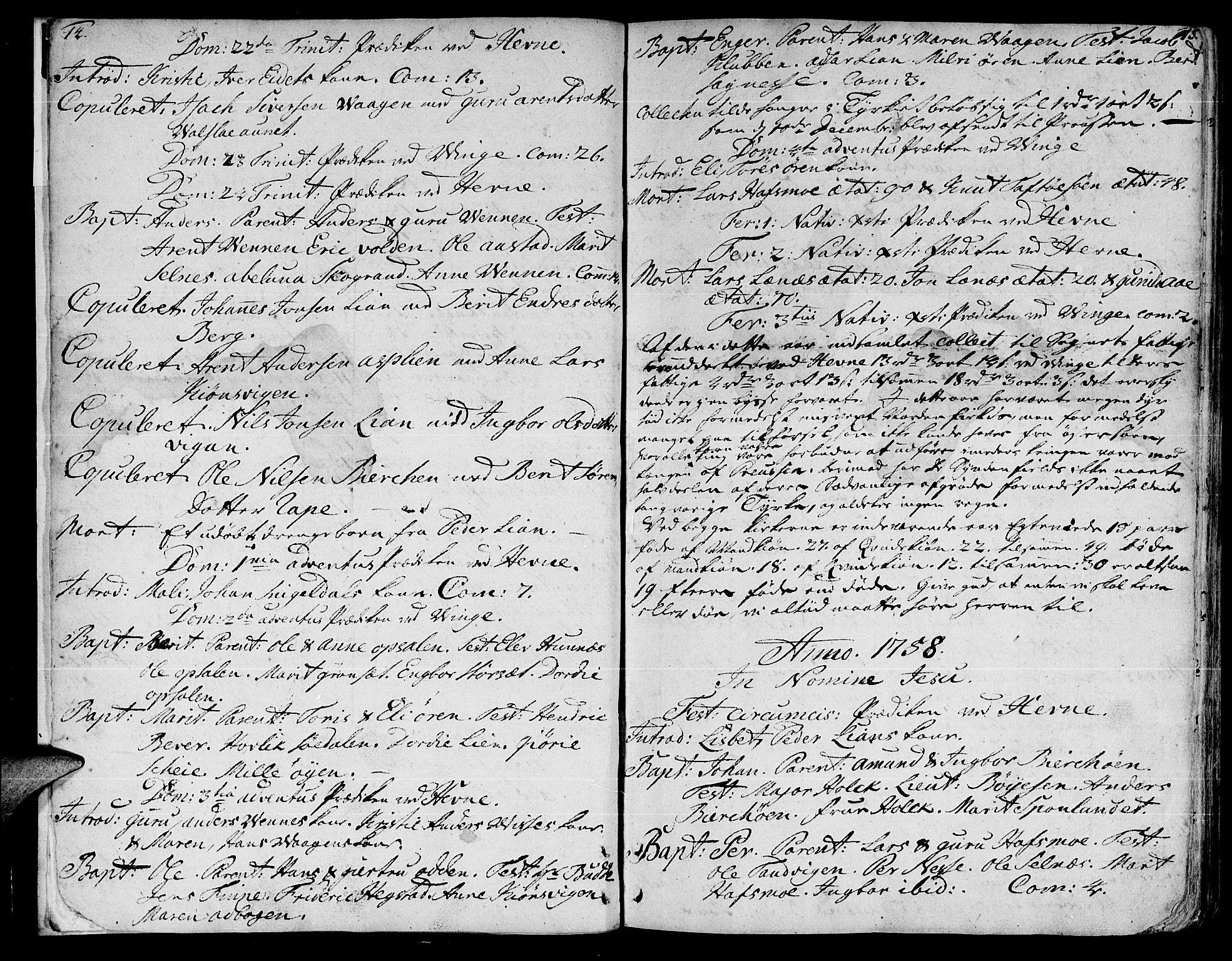 SAT, Ministerialprotokoller, klokkerbøker og fødselsregistre - Sør-Trøndelag, 630/L0489: Ministerialbok nr. 630A02, 1757-1794, s. 14-15