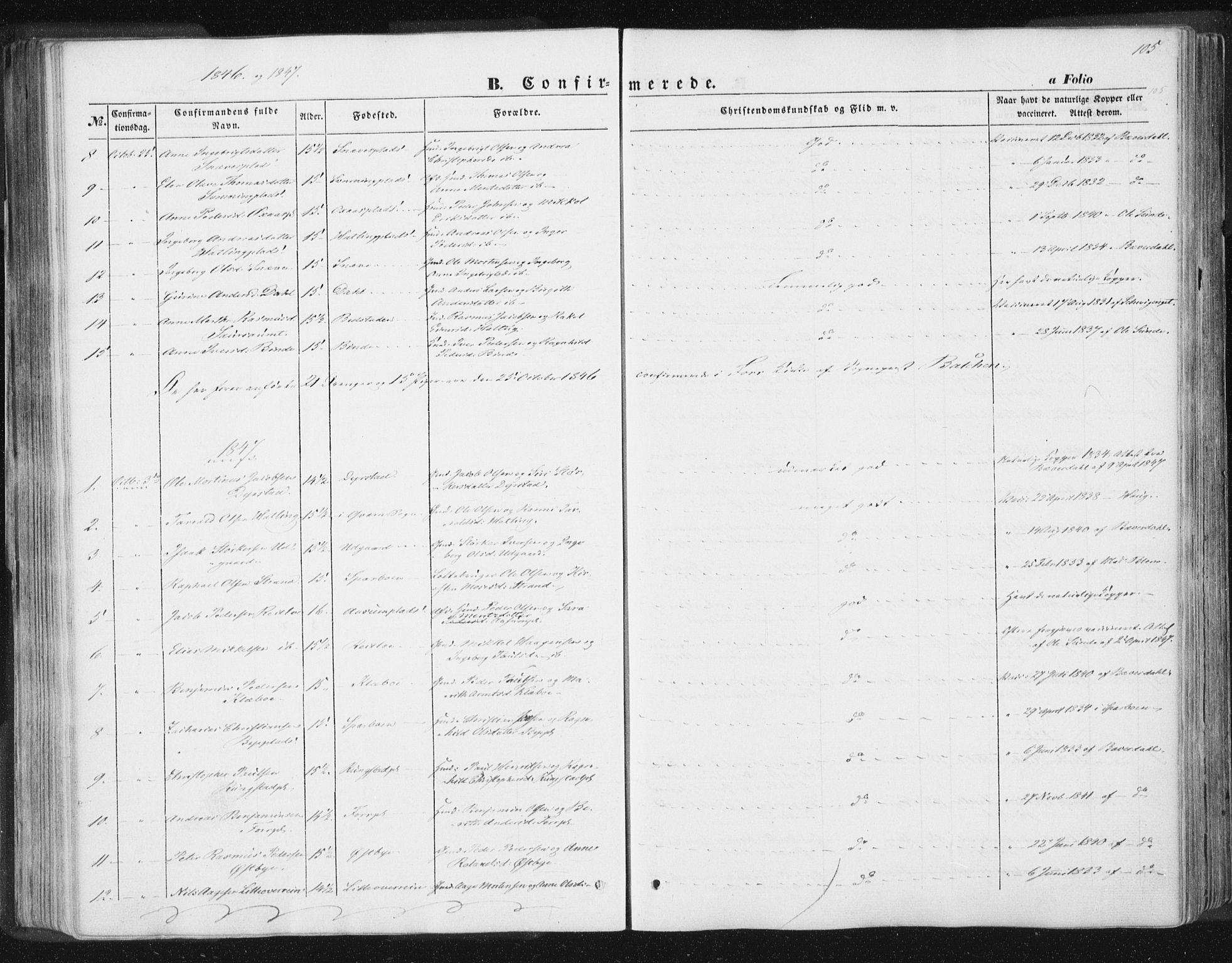 SAT, Ministerialprotokoller, klokkerbøker og fødselsregistre - Nord-Trøndelag, 746/L0446: Ministerialbok nr. 746A05, 1846-1859, s. 105