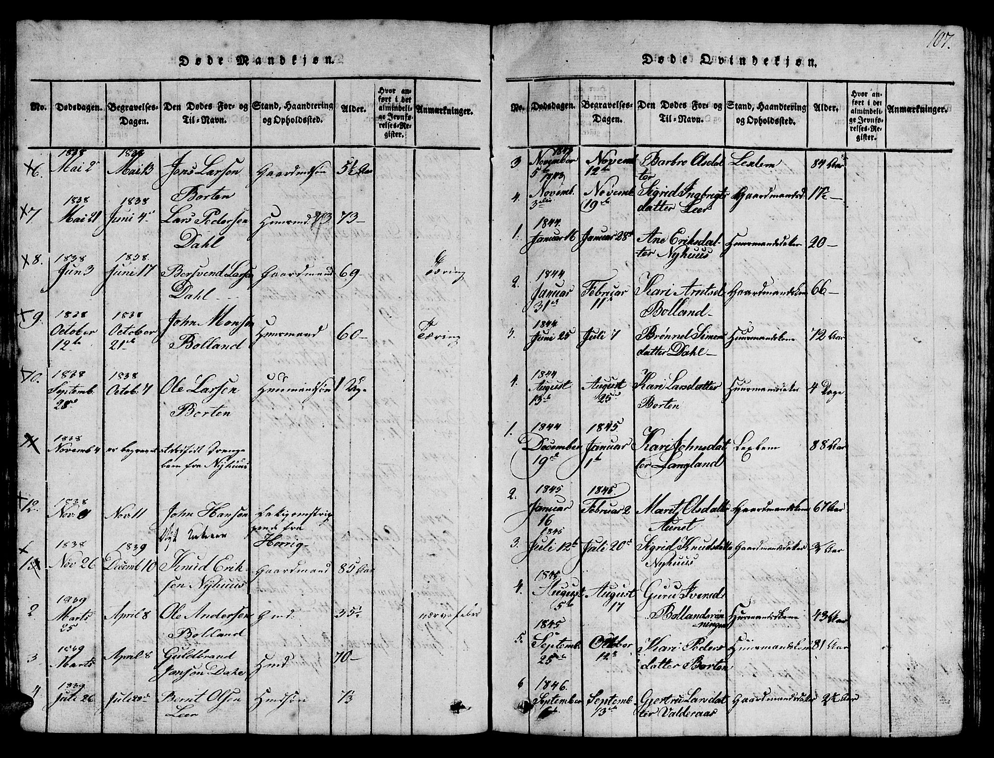SAT, Ministerialprotokoller, klokkerbøker og fødselsregistre - Sør-Trøndelag, 693/L1121: Klokkerbok nr. 693C02, 1816-1869, s. 107