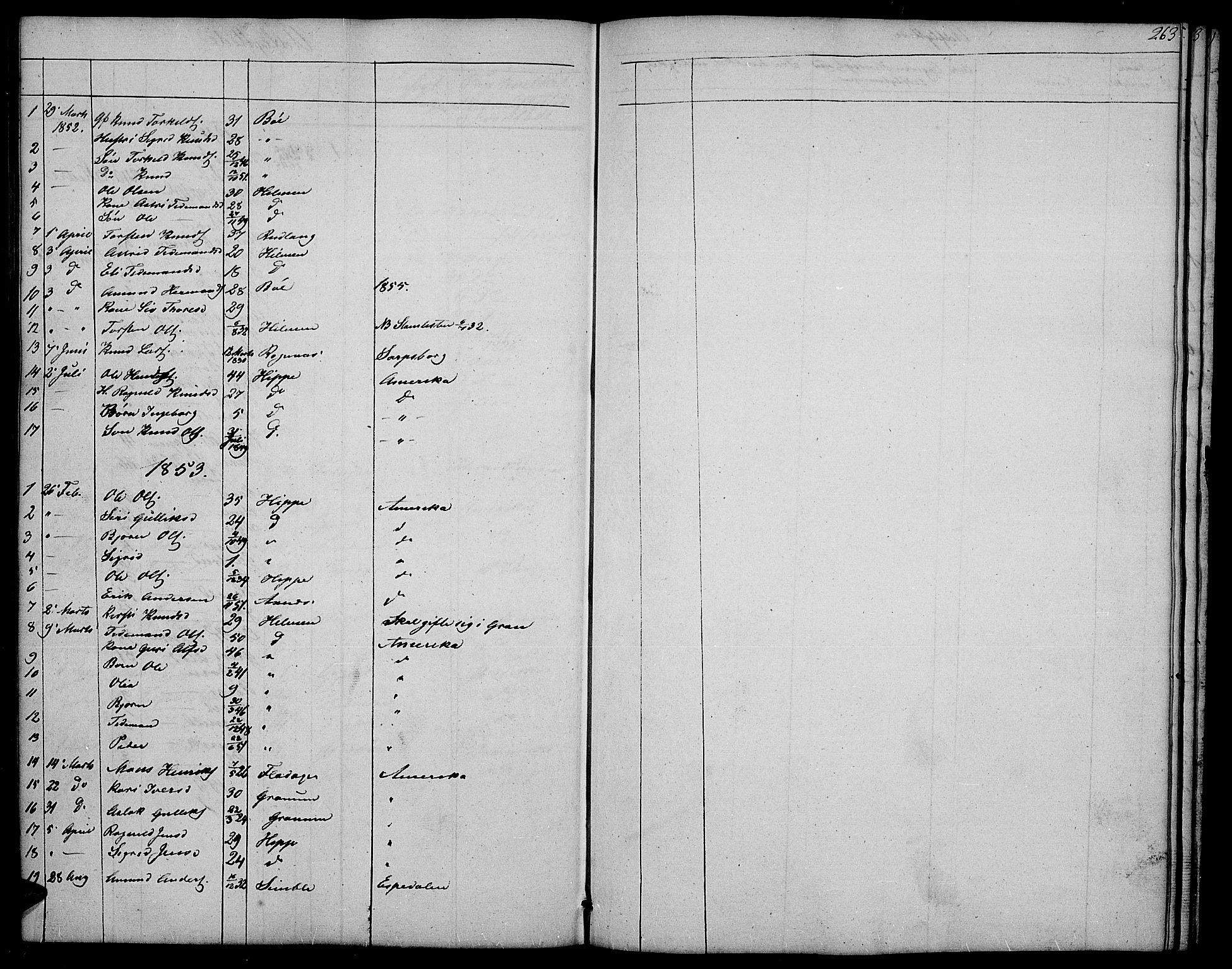 SAH, Nord-Aurdal prestekontor, Klokkerbok nr. 4, 1842-1882, s. 263