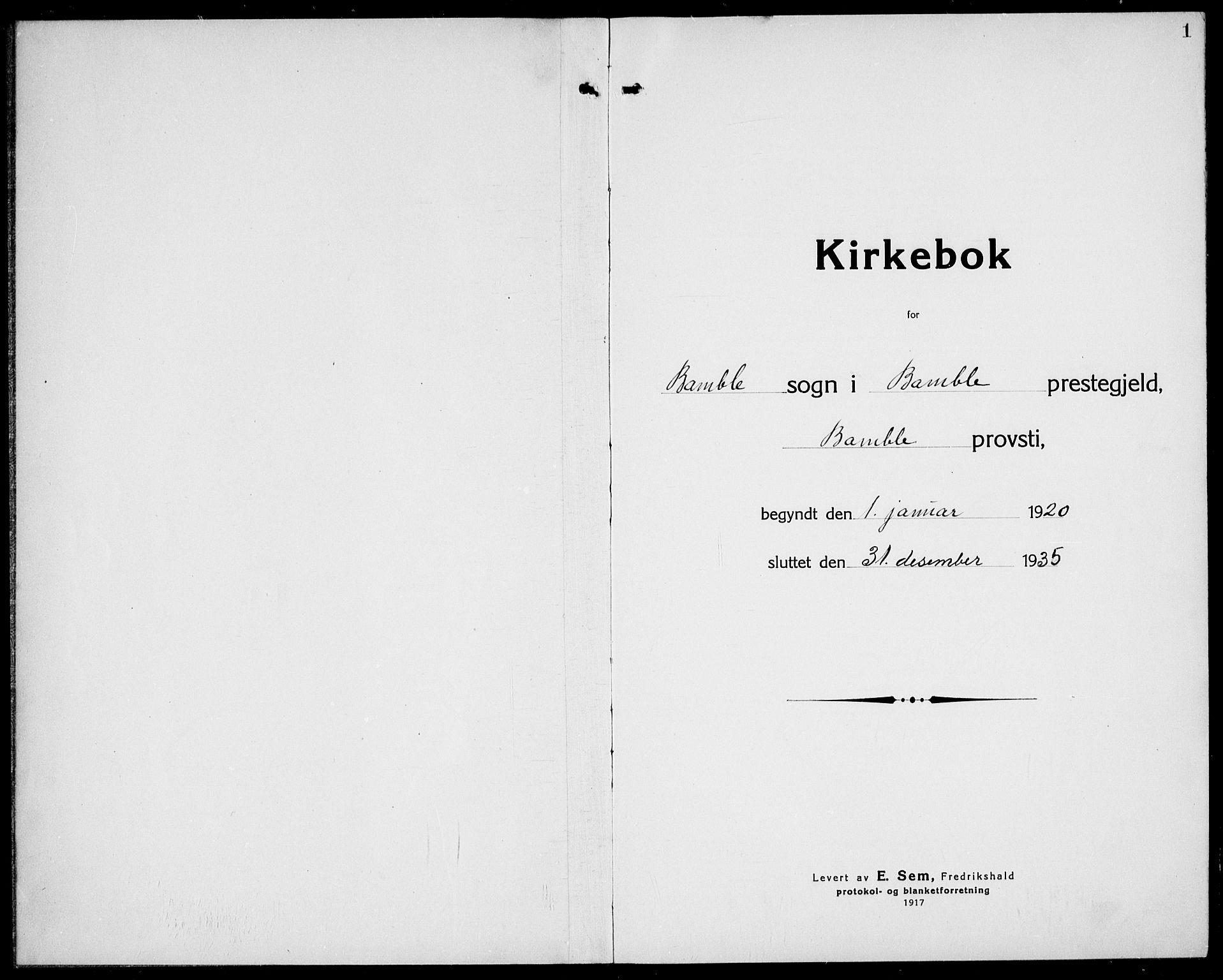 SAKO, Bamble kirkebøker, G/Ga/L0011: Klokkerbok nr. I 11, 1920-1935, s. 1