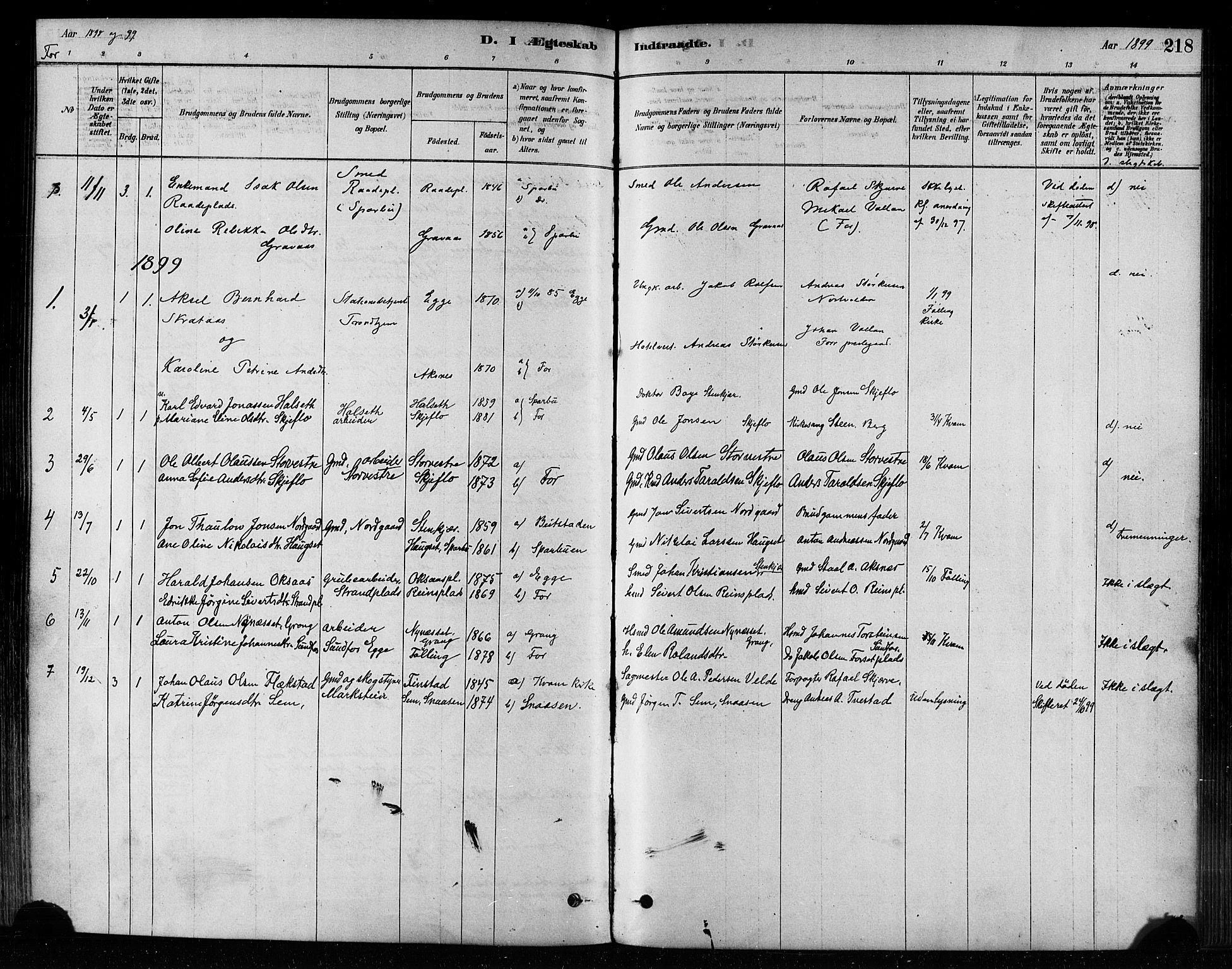 SAT, Ministerialprotokoller, klokkerbøker og fødselsregistre - Nord-Trøndelag, 746/L0448: Ministerialbok nr. 746A07 /1, 1878-1900, s. 218