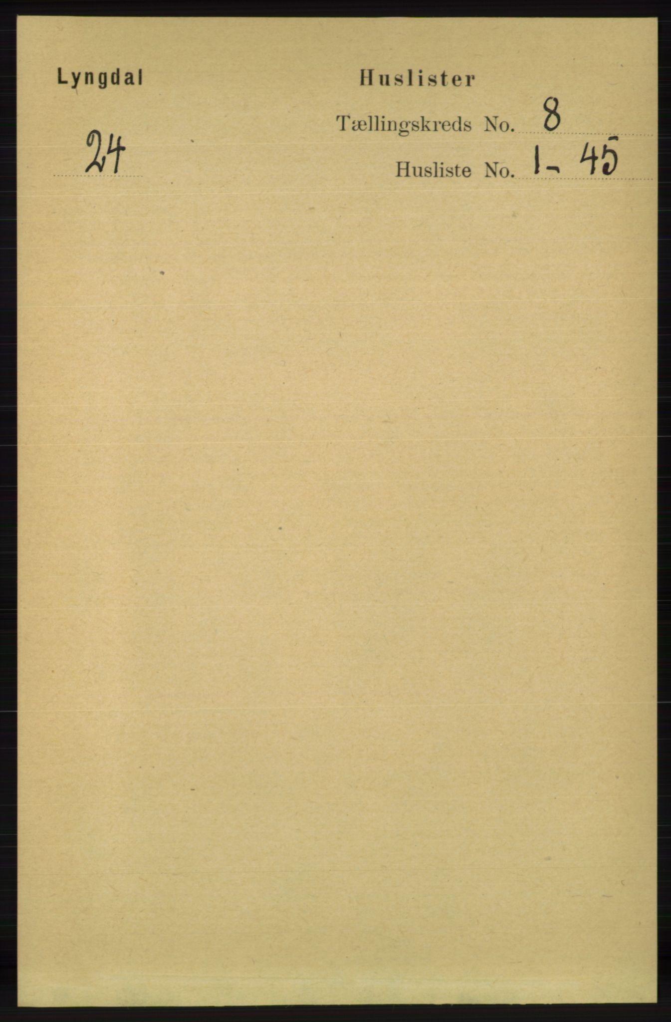 RA, Folketelling 1891 for 1032 Lyngdal herred, 1891, s. 3328