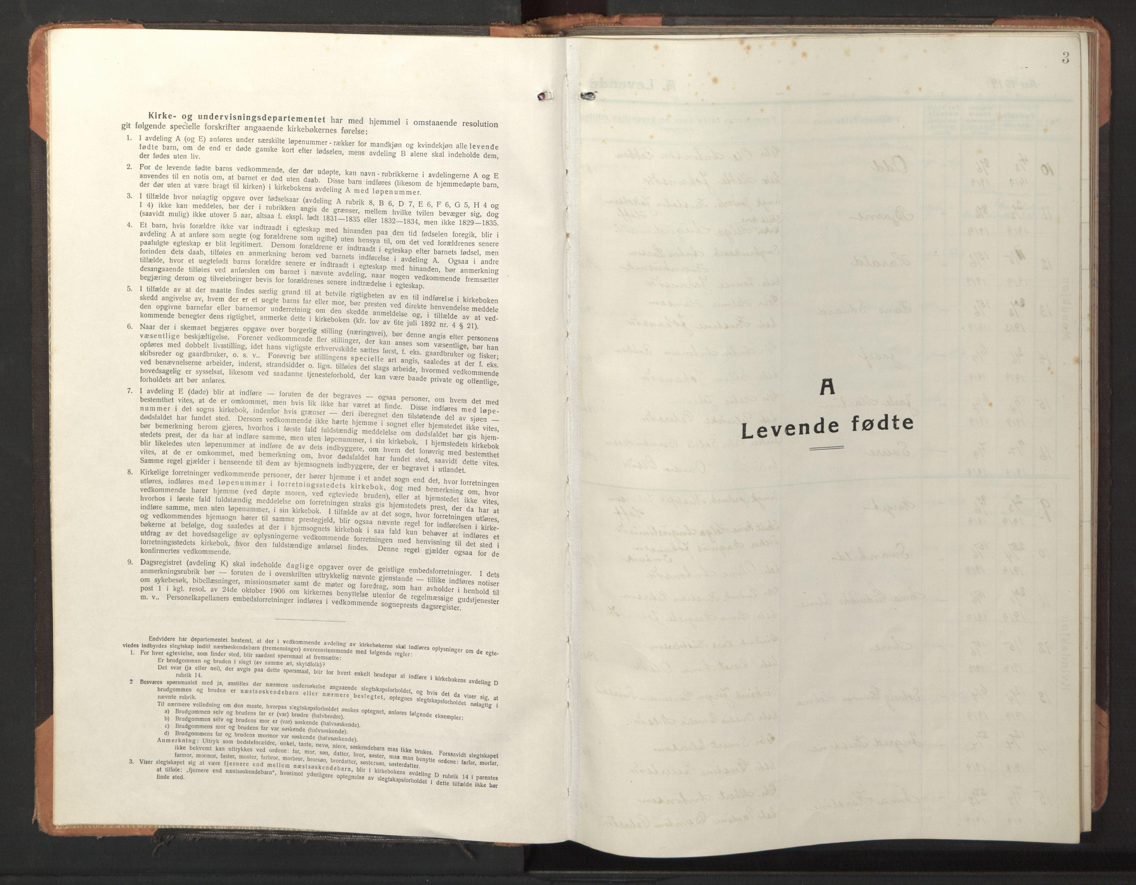 SAT, Ministerialprotokoller, klokkerbøker og fødselsregistre - Sør-Trøndelag, 653/L0658: Klokkerbok nr. 653C02, 1919-1947, s. 3