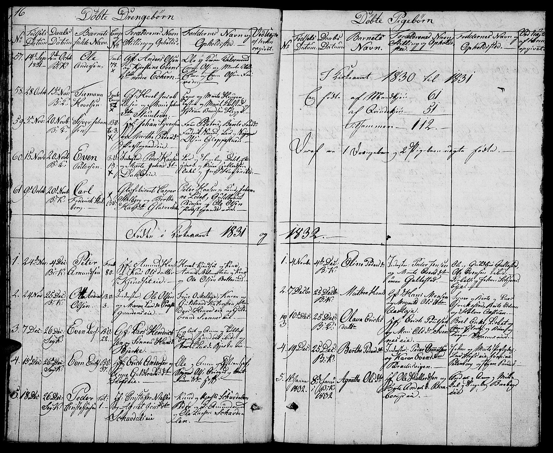 SAH, Biri prestekontor, Klokkerbok nr. 2, 1828-1842, s. 16