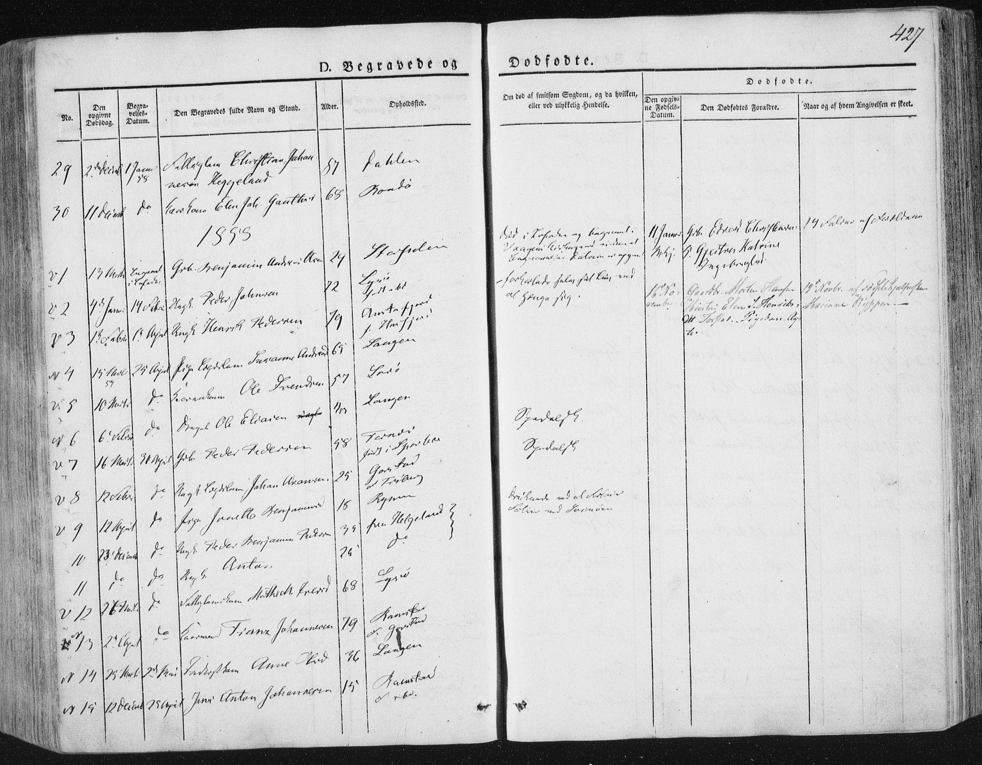 SAT, Ministerialprotokoller, klokkerbøker og fødselsregistre - Nord-Trøndelag, 784/L0669: Ministerialbok nr. 784A04, 1829-1859, s. 427