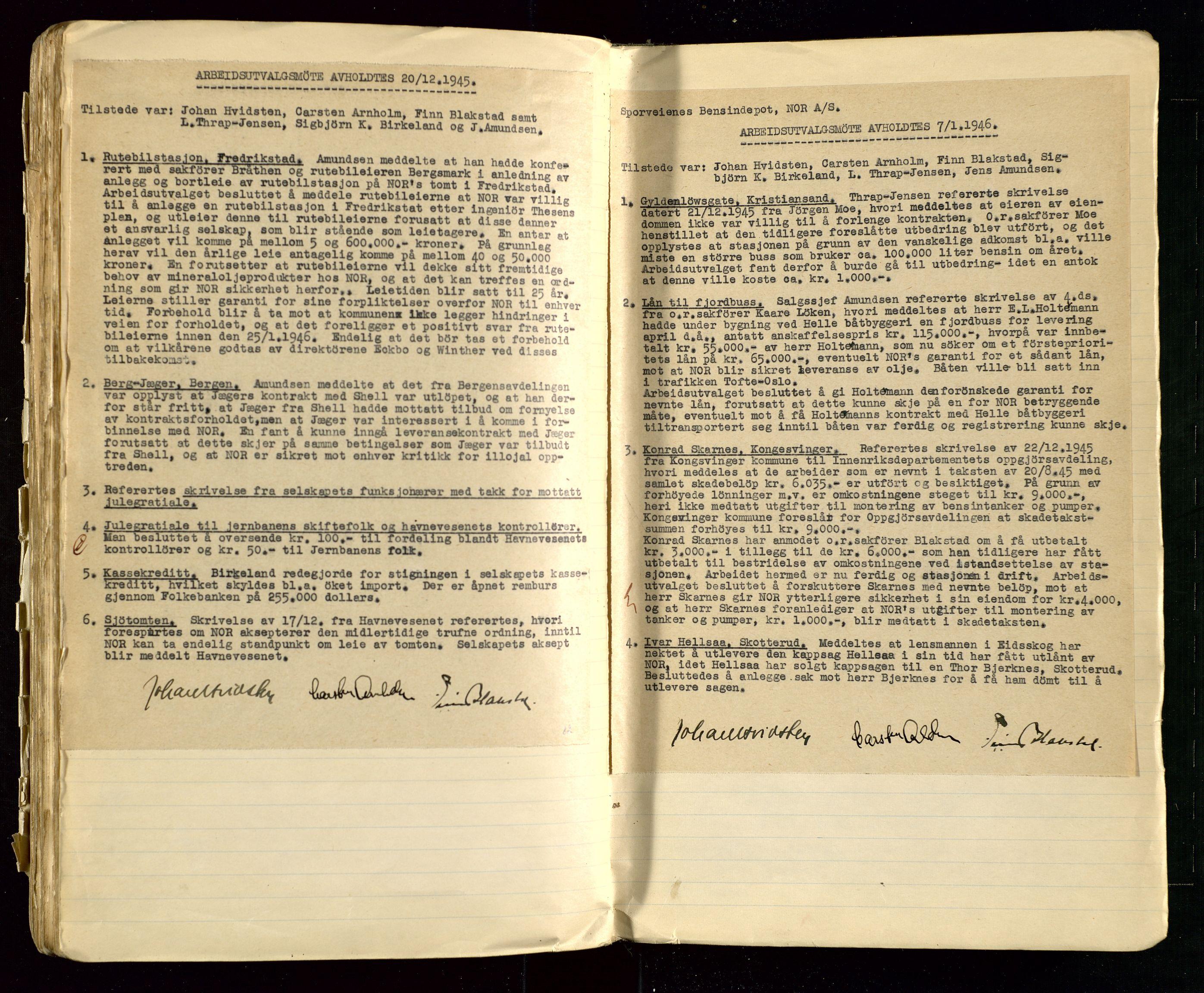SAST, PA 1514 - Sporveienes Bensindepot, Norsk Oljeraffineri A/S, A/L0002: Forhandlingsprotokoll Arbeidsutvaget, 1932-1946, s. 154
