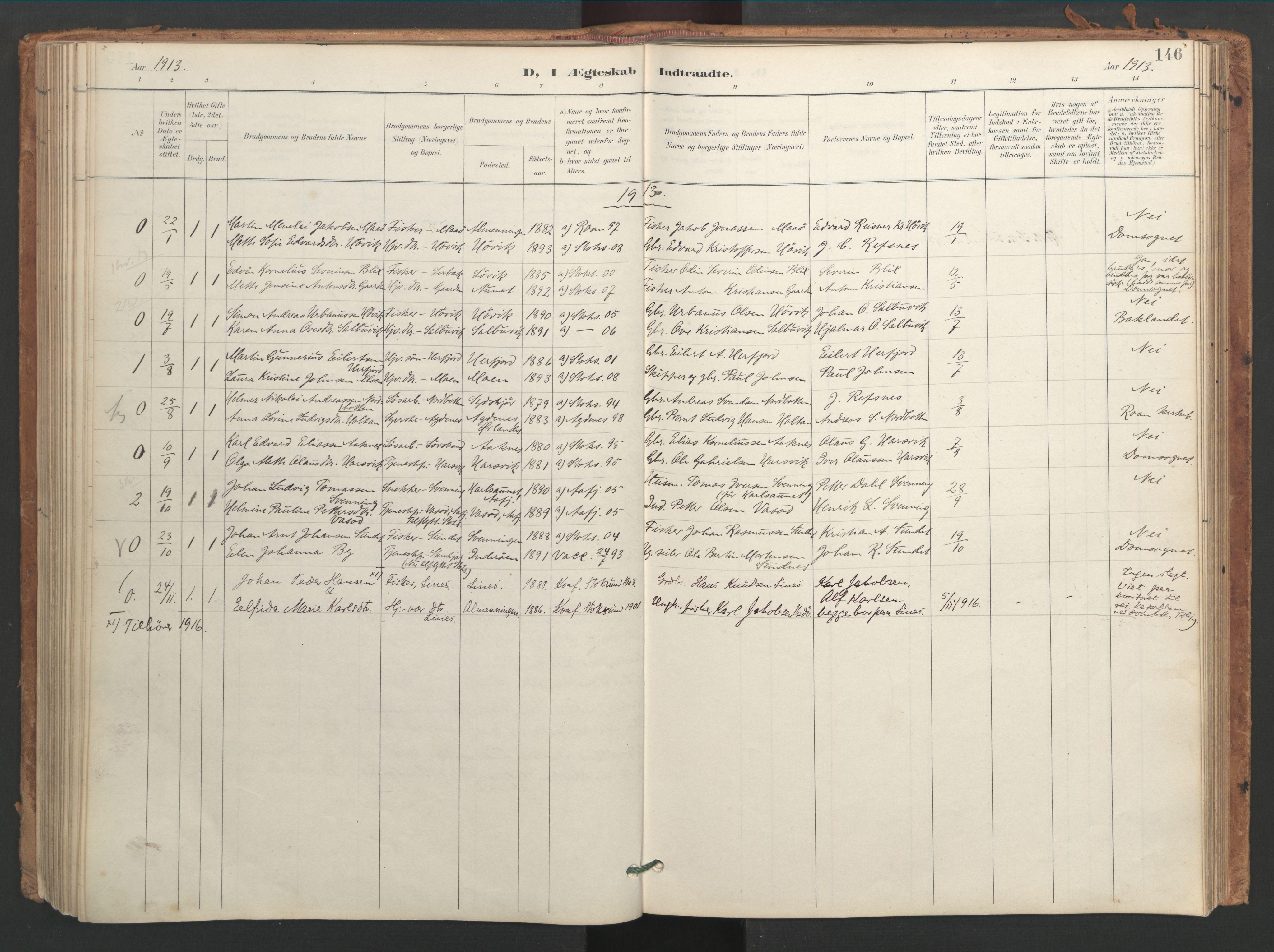 SAT, Ministerialprotokoller, klokkerbøker og fødselsregistre - Sør-Trøndelag, 656/L0693: Ministerialbok nr. 656A02, 1894-1913, s. 146