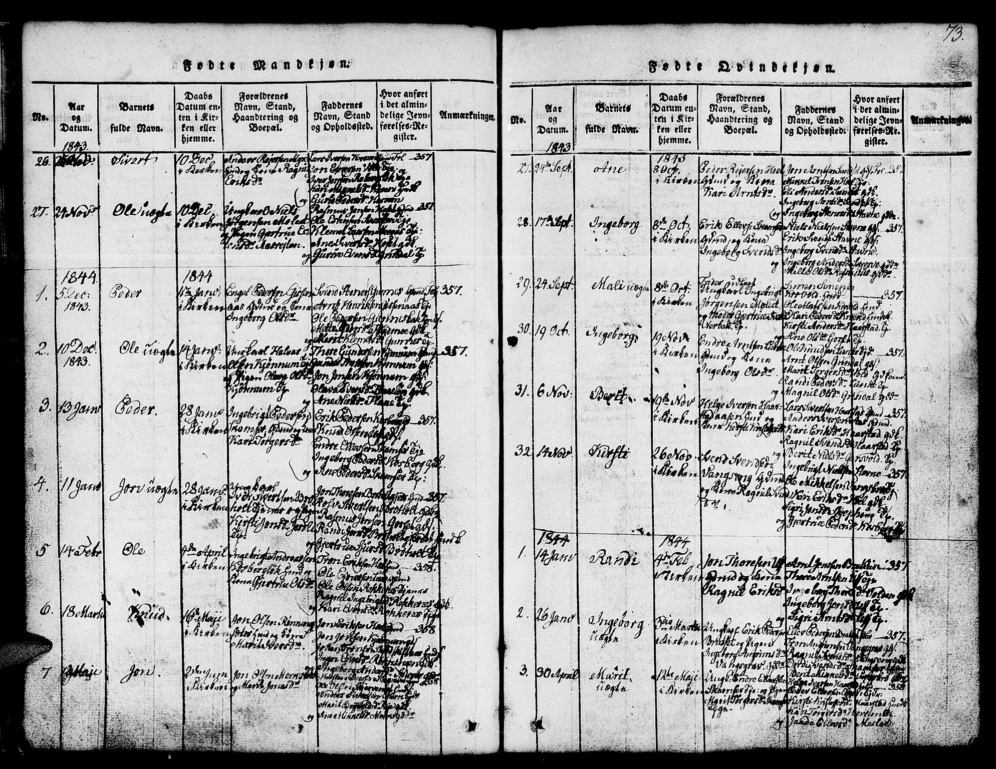 SAT, Ministerialprotokoller, klokkerbøker og fødselsregistre - Sør-Trøndelag, 674/L0874: Klokkerbok nr. 674C01, 1816-1860, s. 73