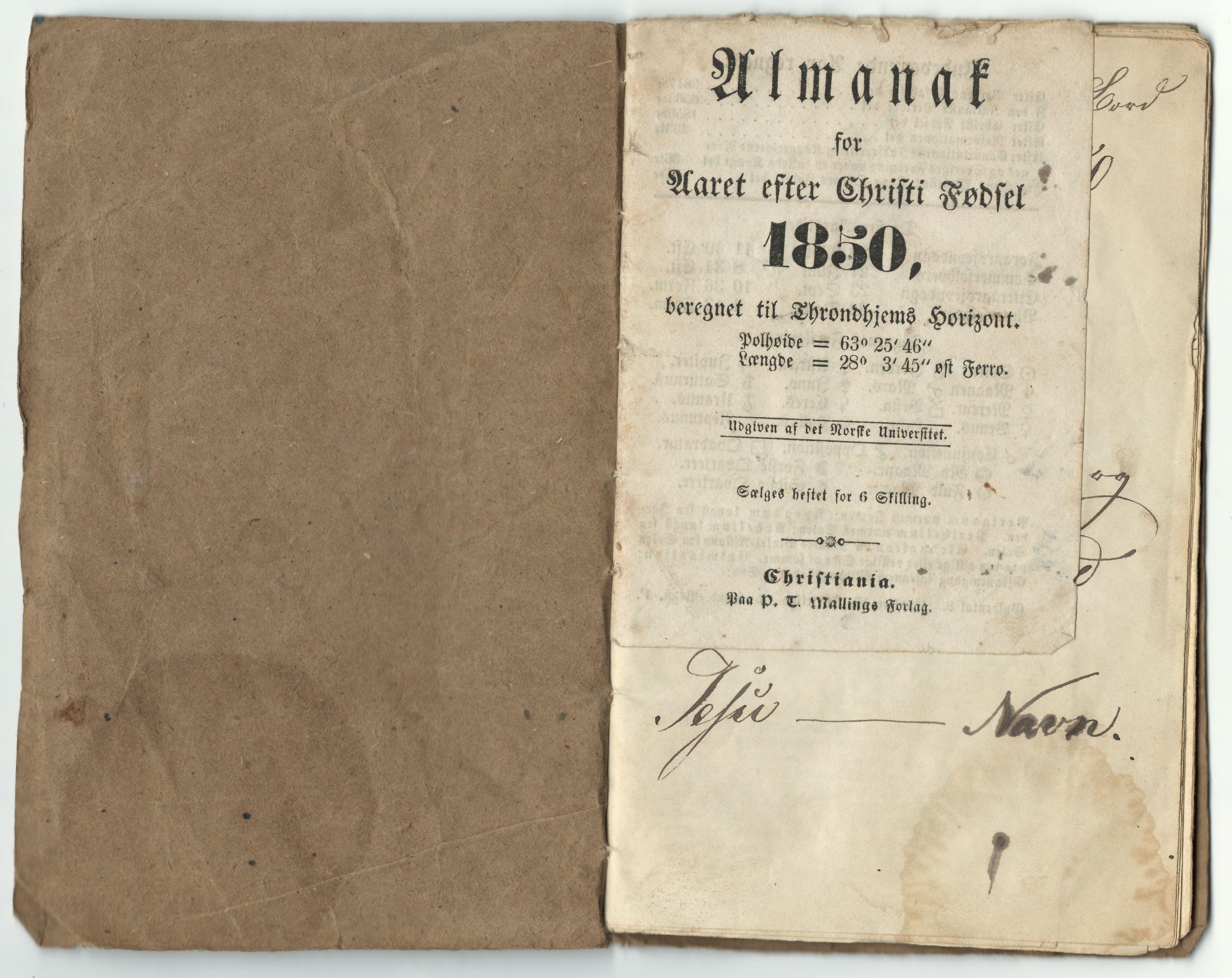 HEMUD, Nordvika gamle handelssted, : Journal ført om bord i småjekten Hansine Marie 1850, 1850
