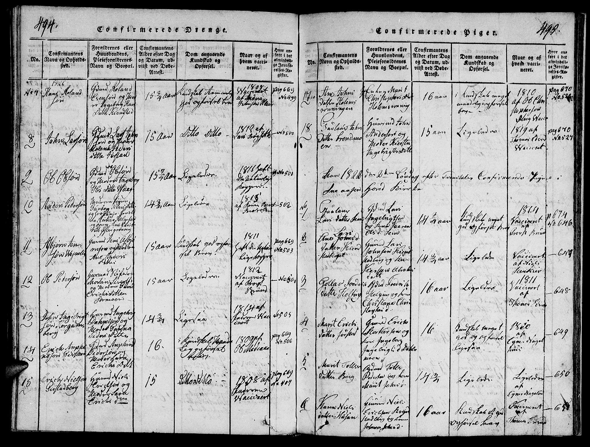 SAT, Ministerialprotokoller, klokkerbøker og fødselsregistre - Nord-Trøndelag, 749/L0479: Klokkerbok nr. 749C01, 1817-1829, s. 494-495