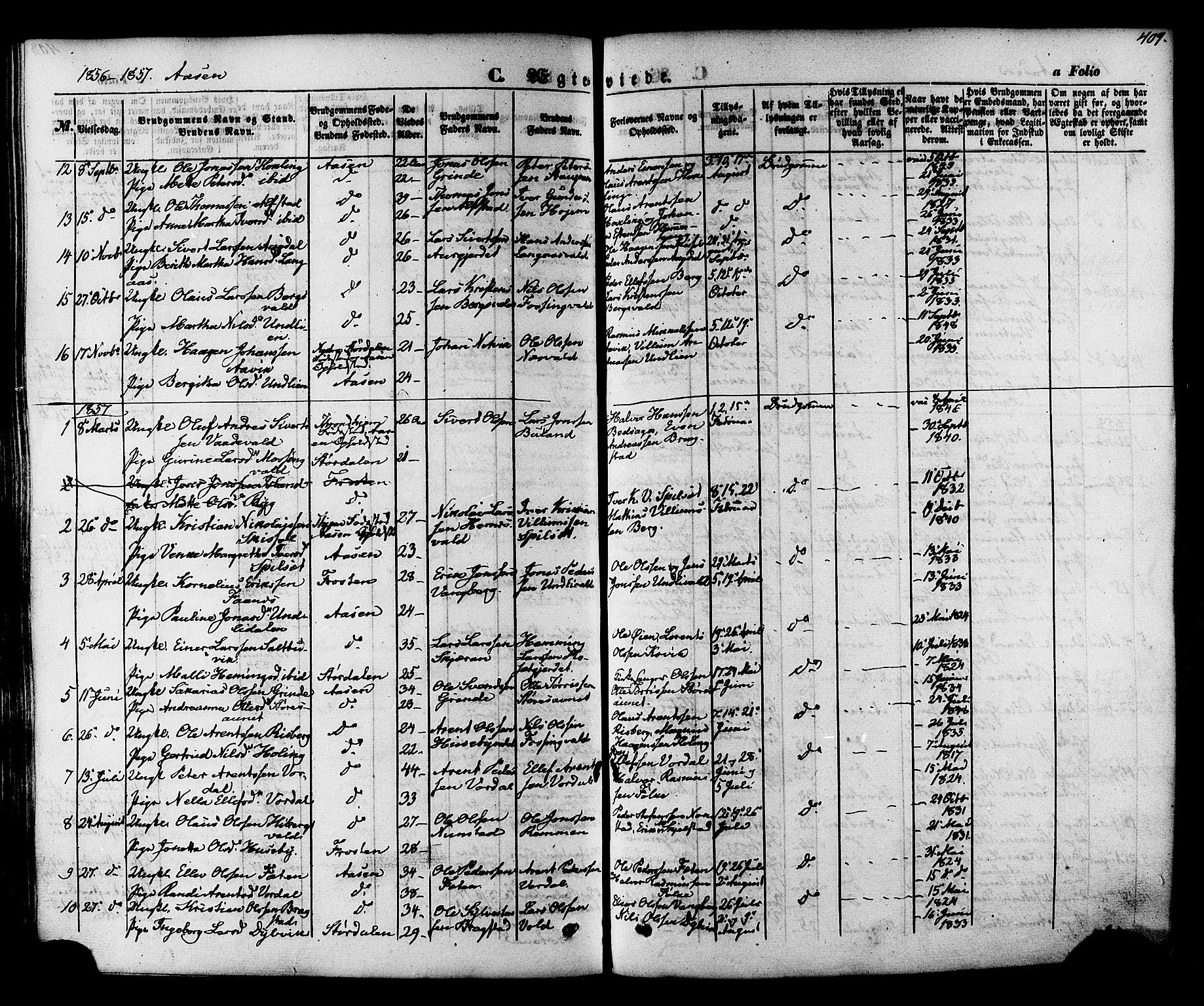 SAT, Ministerialprotokoller, klokkerbøker og fødselsregistre - Nord-Trøndelag, 713/L0116: Ministerialbok nr. 713A07 /2, 1850-1877, s. 409