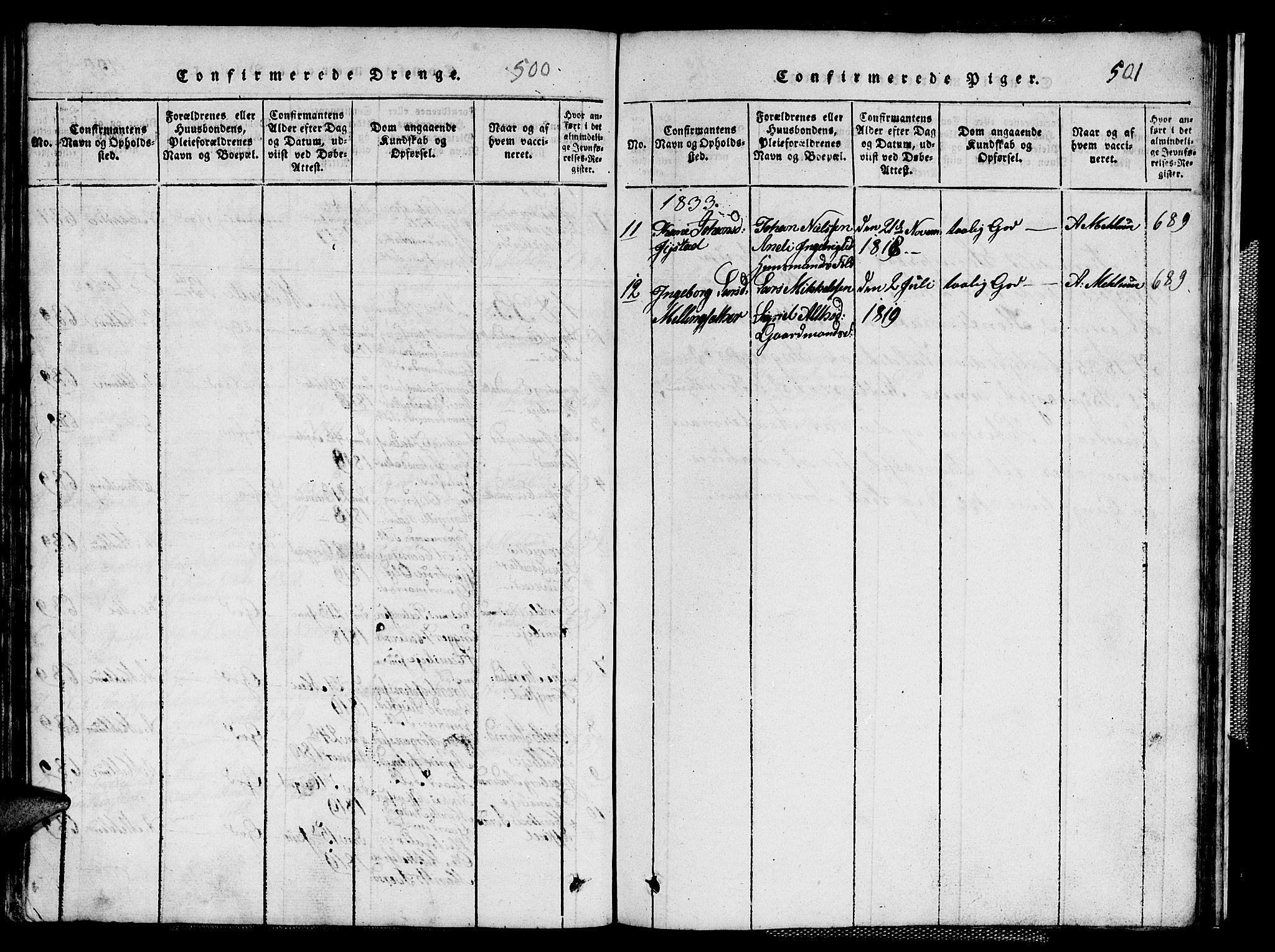 SAT, Ministerialprotokoller, klokkerbøker og fødselsregistre - Sør-Trøndelag, 667/L0796: Klokkerbok nr. 667C01, 1817-1836, s. 500-501