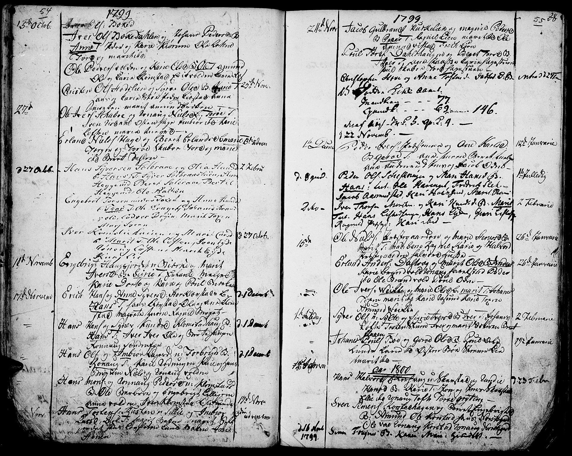 SAH, Fron prestekontor, H/Ha/Haa/L0001: Ministerialbok nr. 1, 1799-1816, s. 54-55