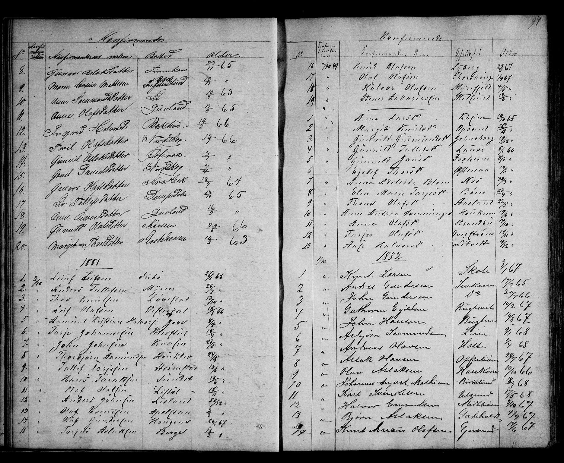 SAKO, Kviteseid kirkebøker, G/Ga/L0001: Klokkerbok nr. I 1, 1850-1893, s. 97