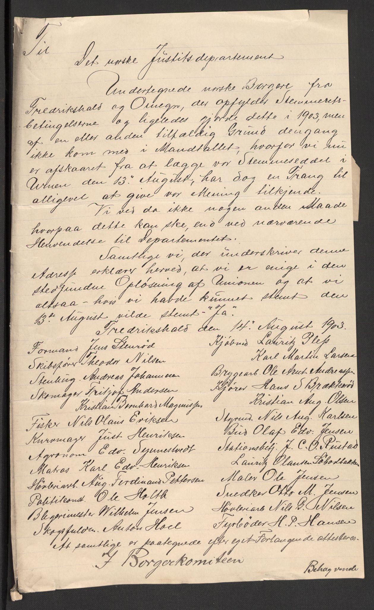 RA, Justisdepartementet, 2. sivilkontor C, F/L0125B: Folkeavstemmingen august 1905, 1905, s. 93