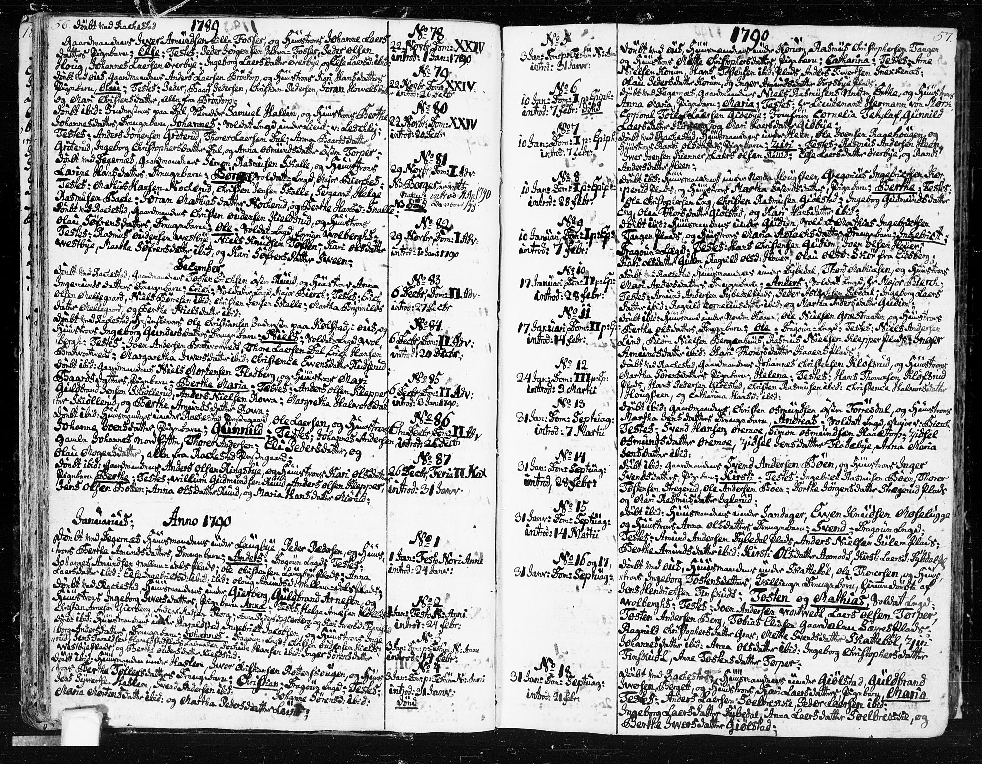 SAO, Rakkestad prestekontor Kirkebøker, F/Fa/L0005: Ministerialbok nr. I 5, 1784-1814, s. 56-57