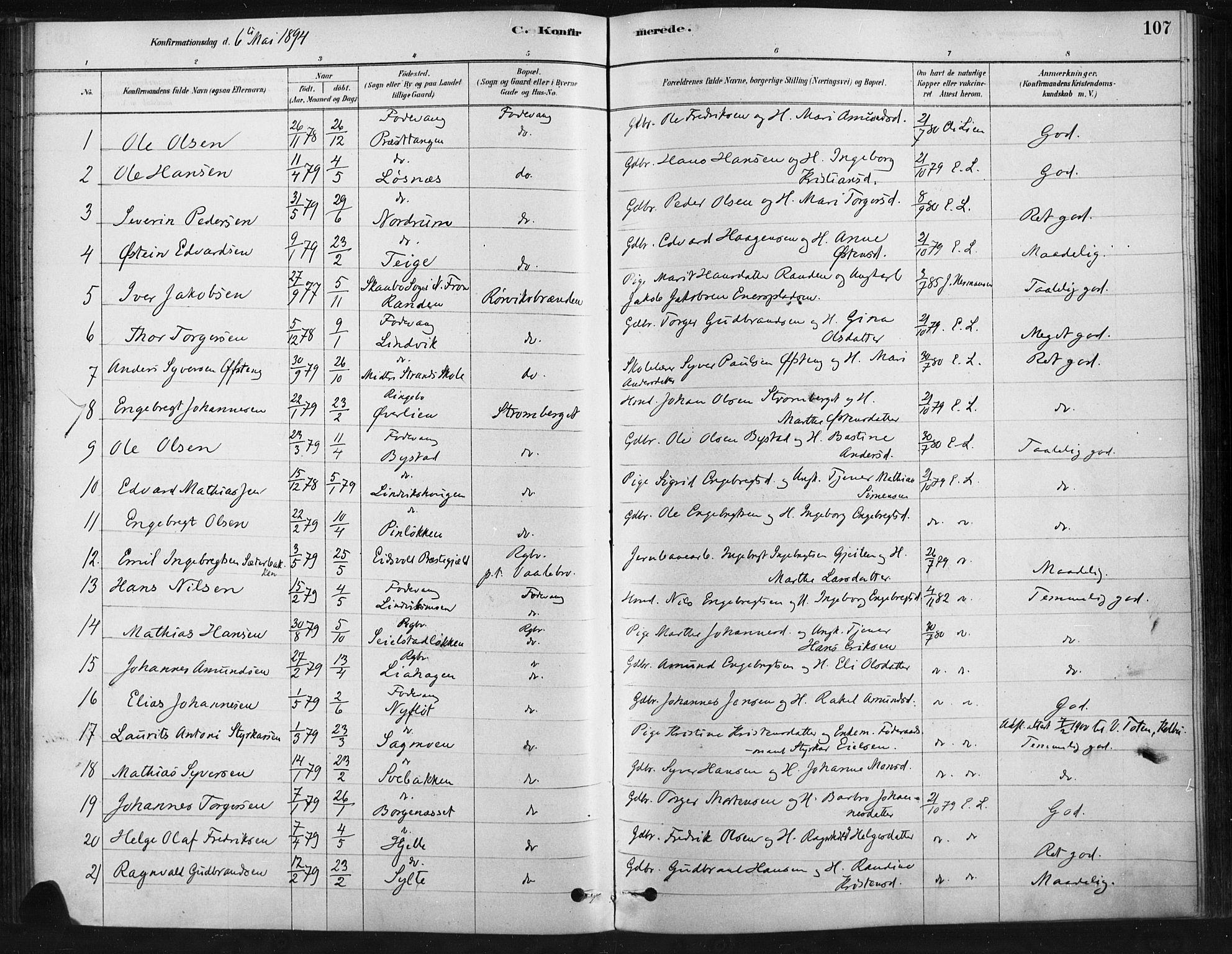 SAH, Ringebu prestekontor, Ministerialbok nr. 9, 1878-1898, s. 107