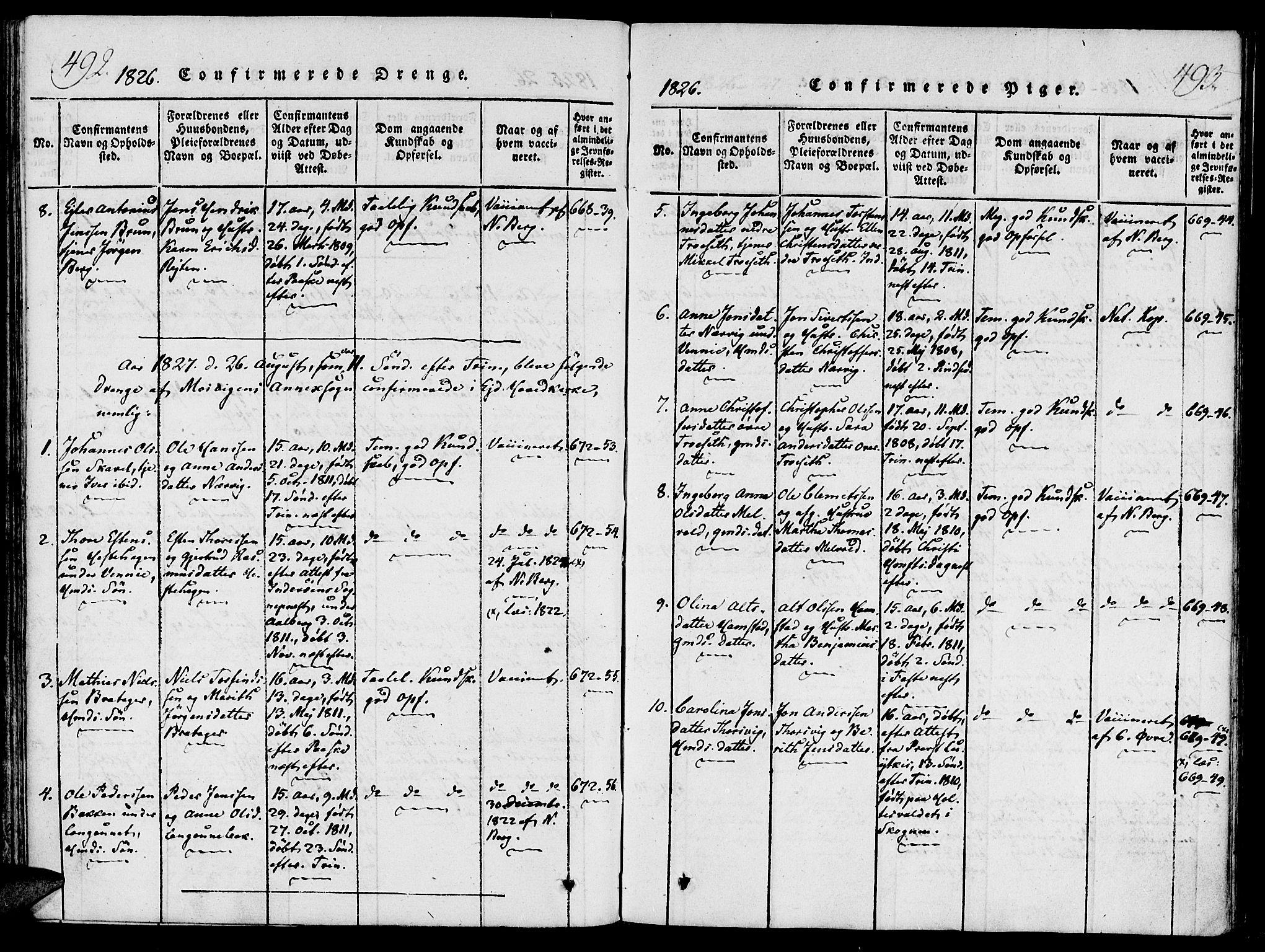 SAT, Ministerialprotokoller, klokkerbøker og fødselsregistre - Nord-Trøndelag, 733/L0322: Ministerialbok nr. 733A01, 1817-1842, s. 492-493