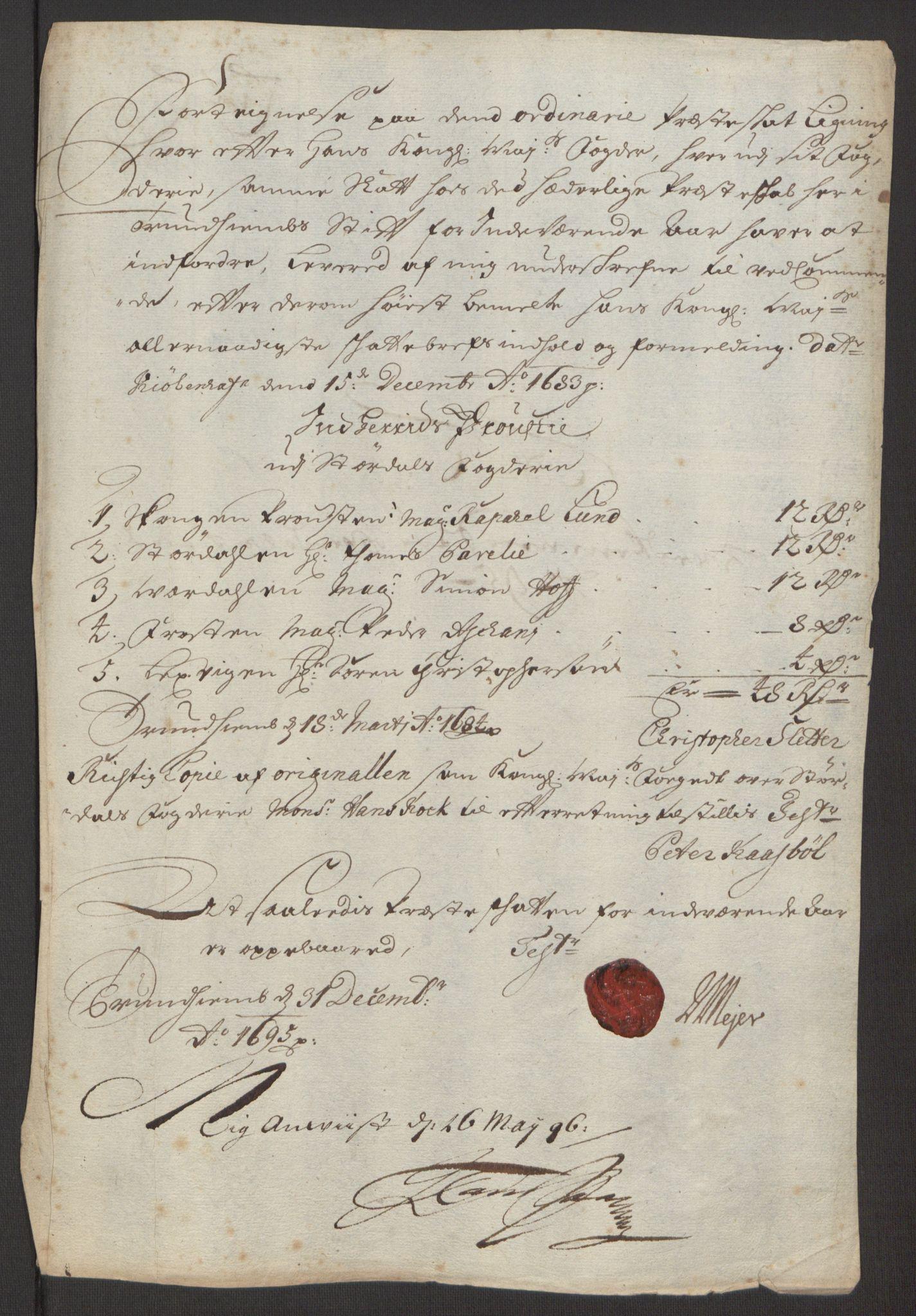 RA, Rentekammeret inntil 1814, Reviderte regnskaper, Fogderegnskap, R62/L4187: Fogderegnskap Stjørdal og Verdal, 1695, s. 136