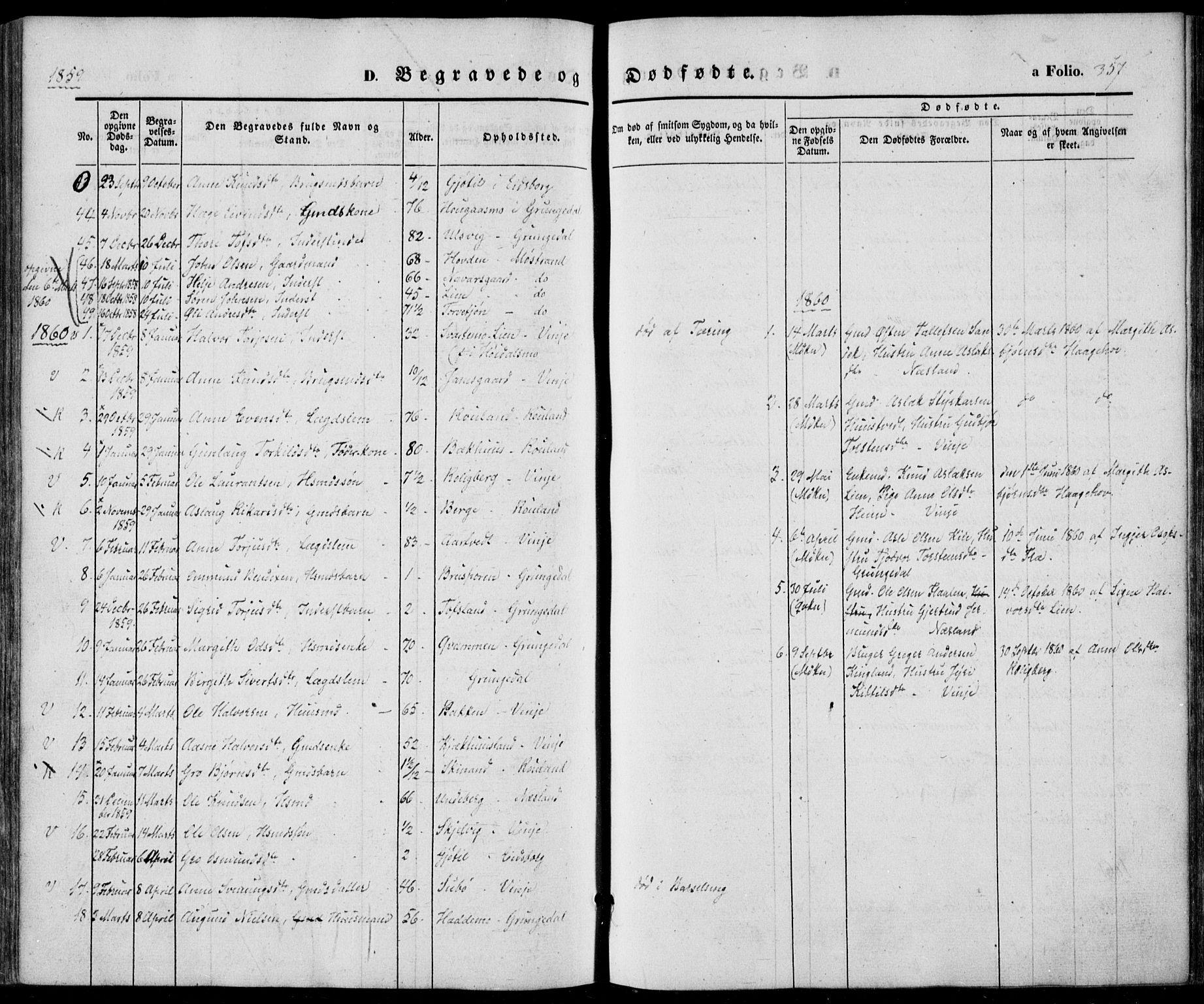 SAKO, Vinje kirkebøker, F/Fa/L0004: Ministerialbok nr. I 4, 1843-1869, s. 357