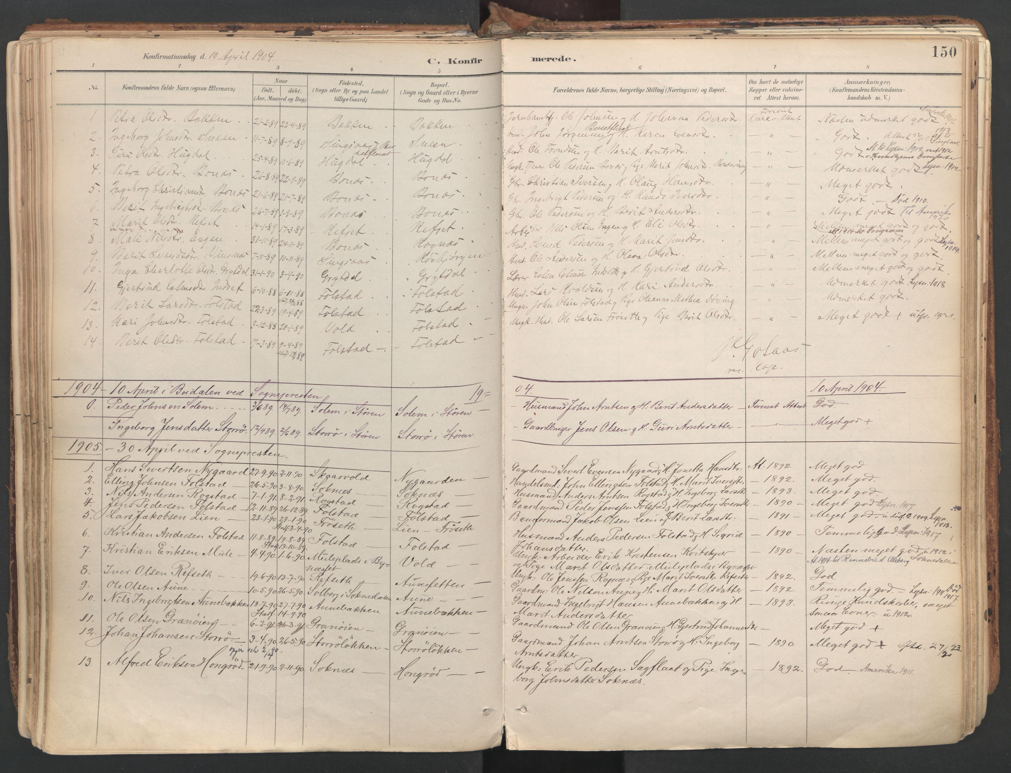 SAT, Ministerialprotokoller, klokkerbøker og fødselsregistre - Sør-Trøndelag, 687/L1004: Ministerialbok nr. 687A10, 1891-1923, s. 150