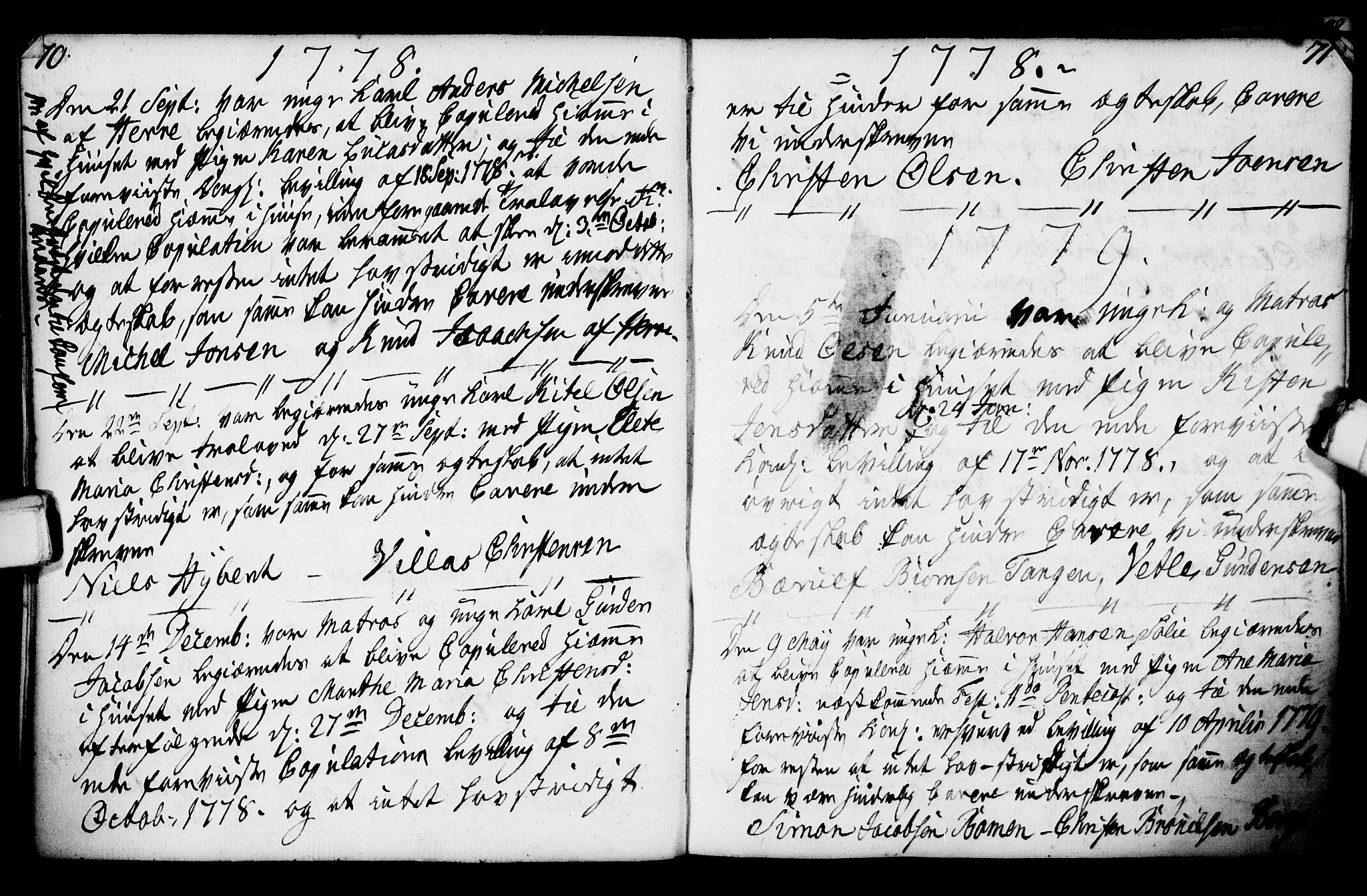 SAKO, Porsgrunn kirkebøker , F/Fa/L0003: Ministerialbok nr. 3, 1764-1814, s. 70-71